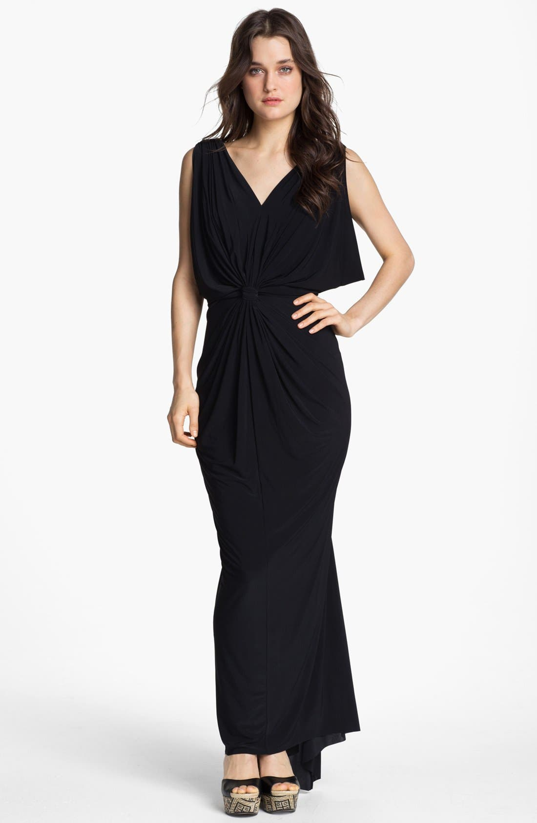 Main Image - Tbags Los Angeles Front Knot Maxi Dress