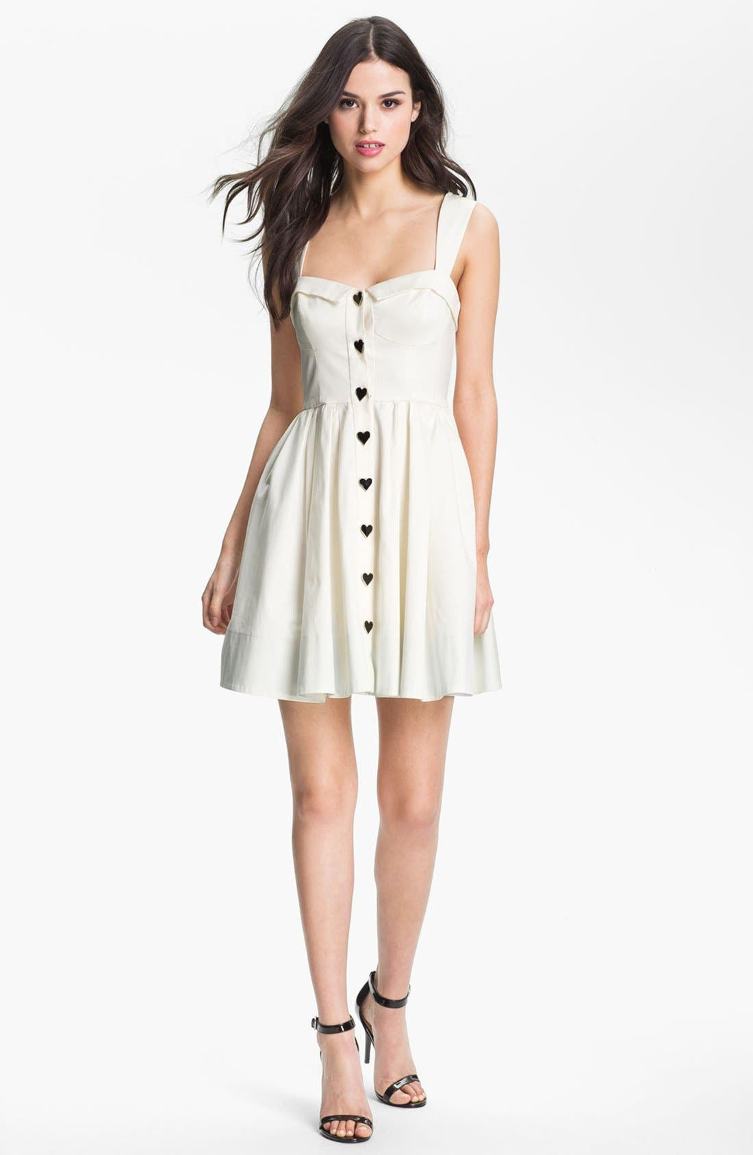 Alternate Image 1 Selected - Betsey Johnson Button Detail Fit & Flare Dress
