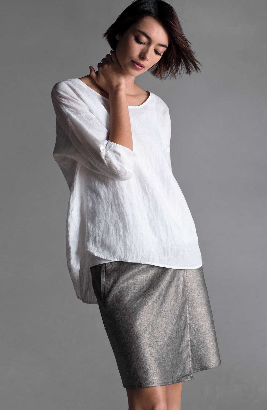Main Image - Eileen Fisher Ballet Neck Top & Faux Wrap Skirt