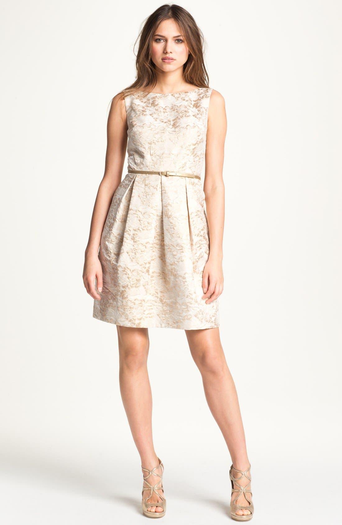 Main Image - Eliza J Metallic Brocade Tulip Dress
