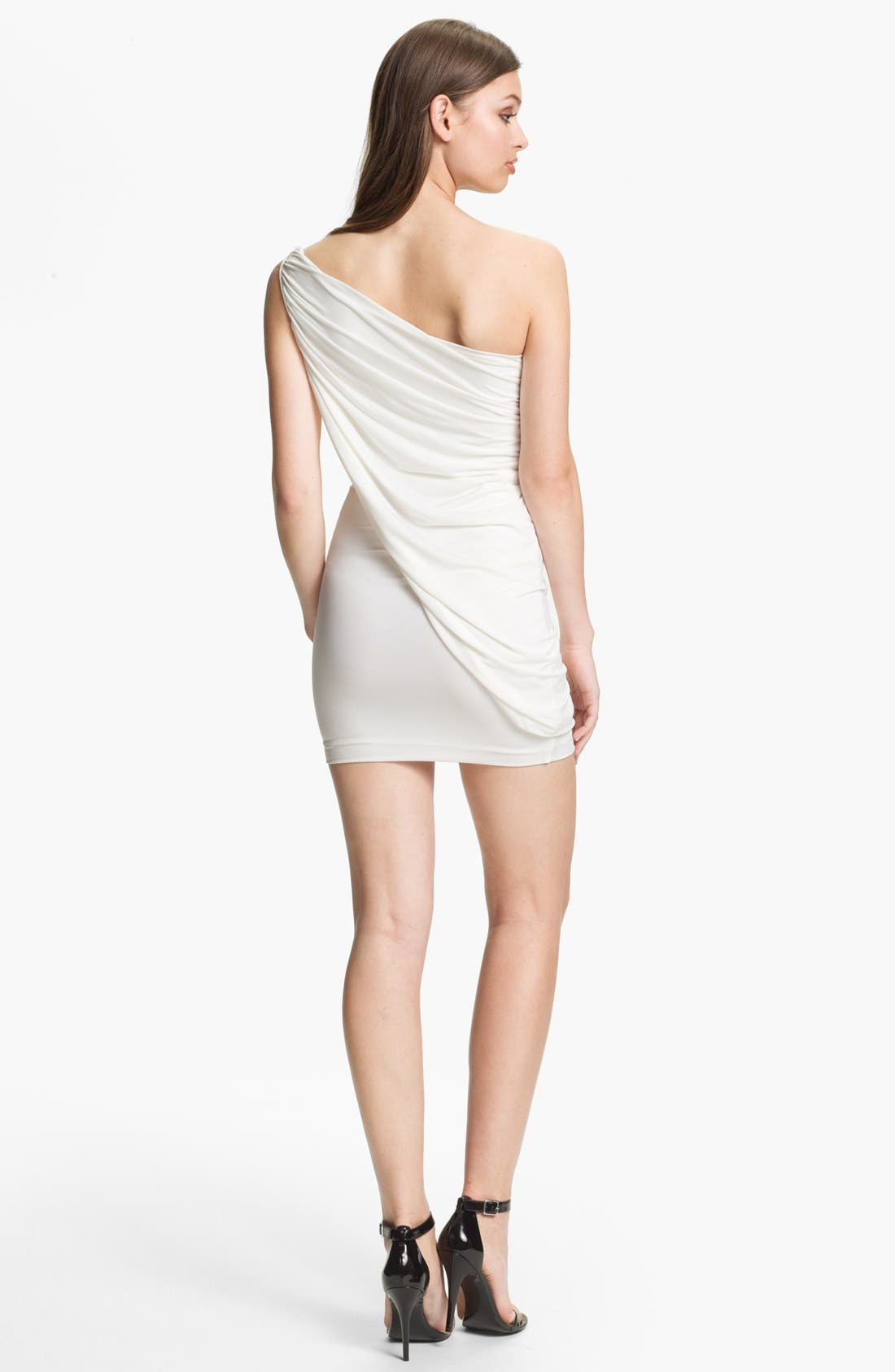 Alternate Image 2  - BCBGMAXAZRIA Draped One Shoulder Jersey Minidress