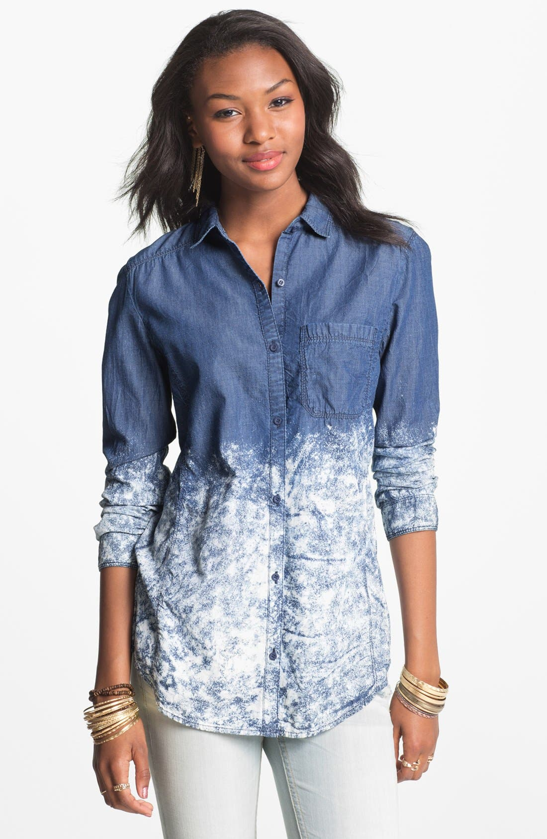 Alternate Image 1 Selected - Rubbish® Bleached Chambray Shirt (Juniors)