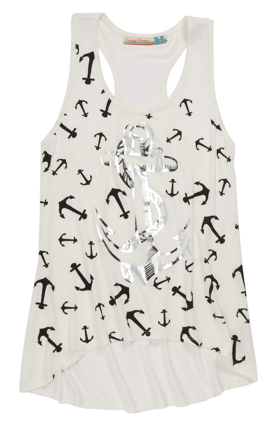 Alternate Image 1 Selected - Vintage Havana Foil Anchor Tank Top (Big Girls)