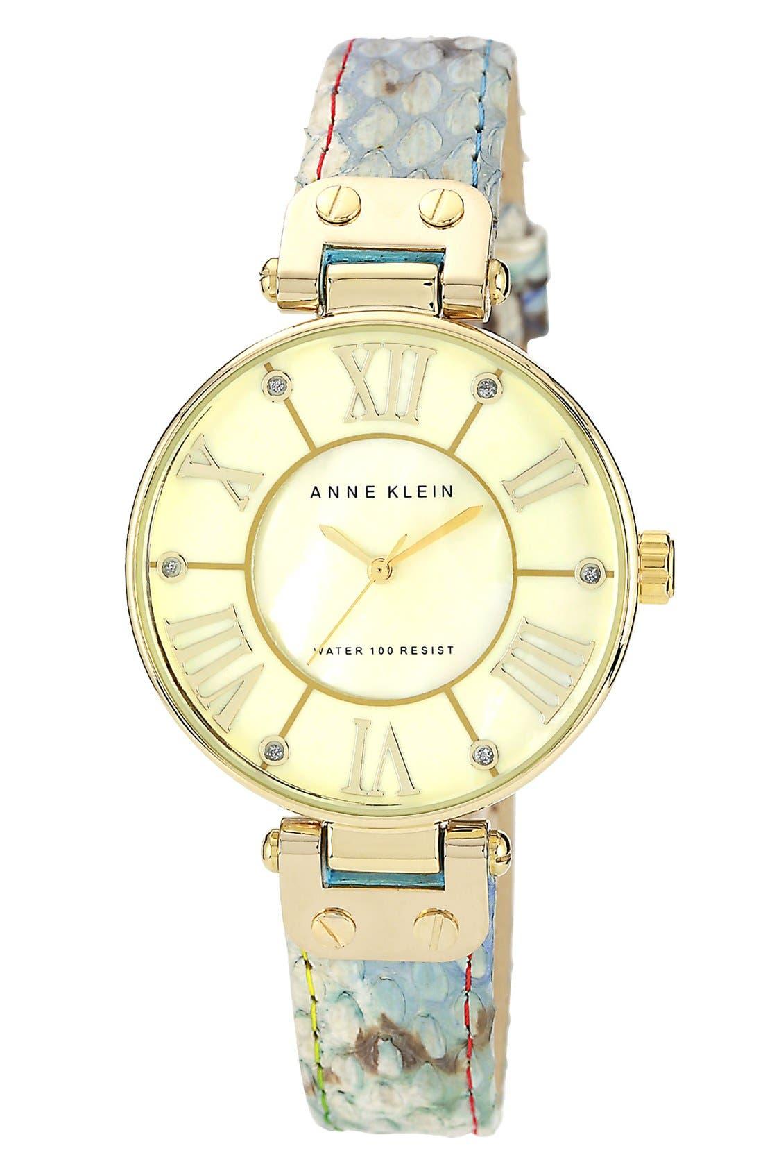 Main Image - Anne Klein Round Snakeskin Strap Watch, 35mm