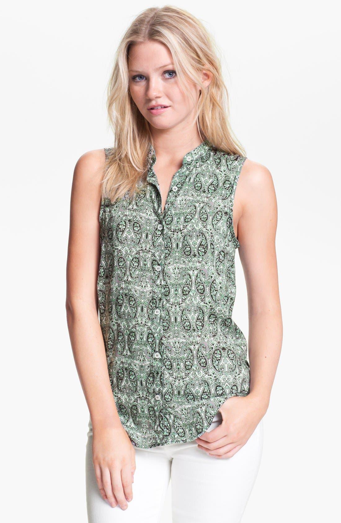 Alternate Image 1 Selected - Ella Moss Tie Back Twin Print Shirt