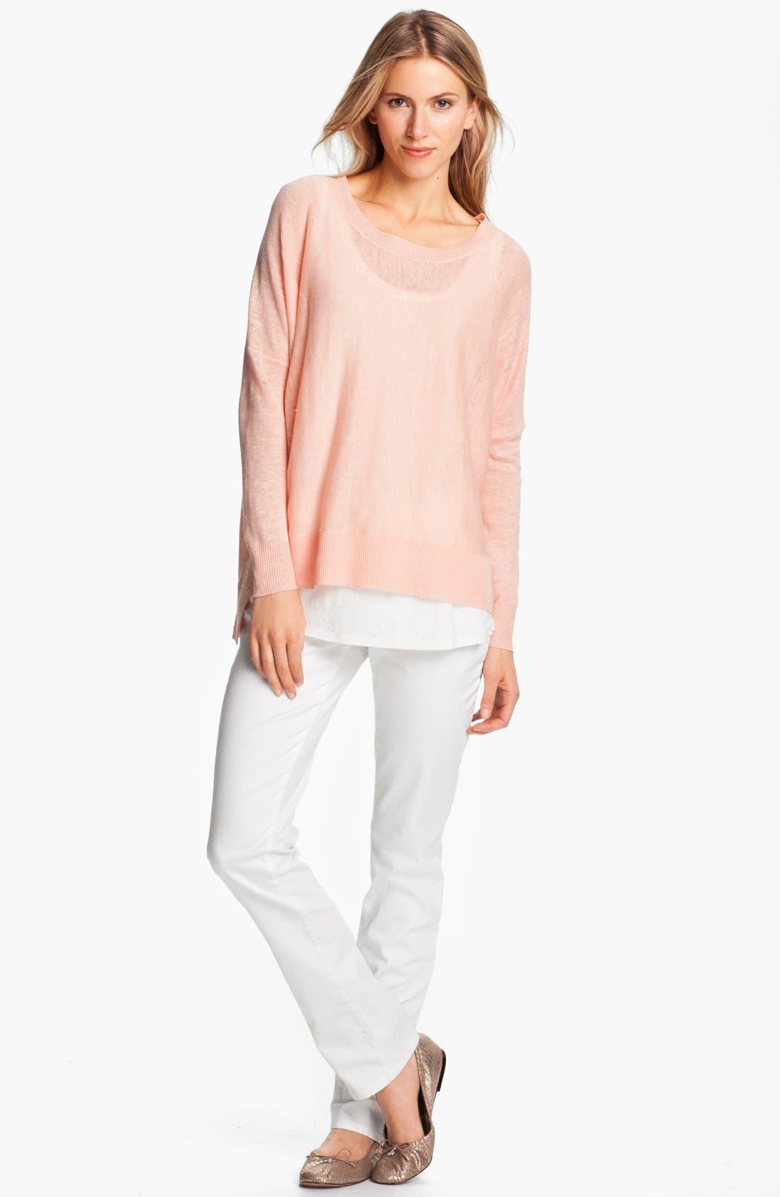 Alternate Image 1 Selected - Eileen Fisher Lightweight Linen Tunic (Petite)