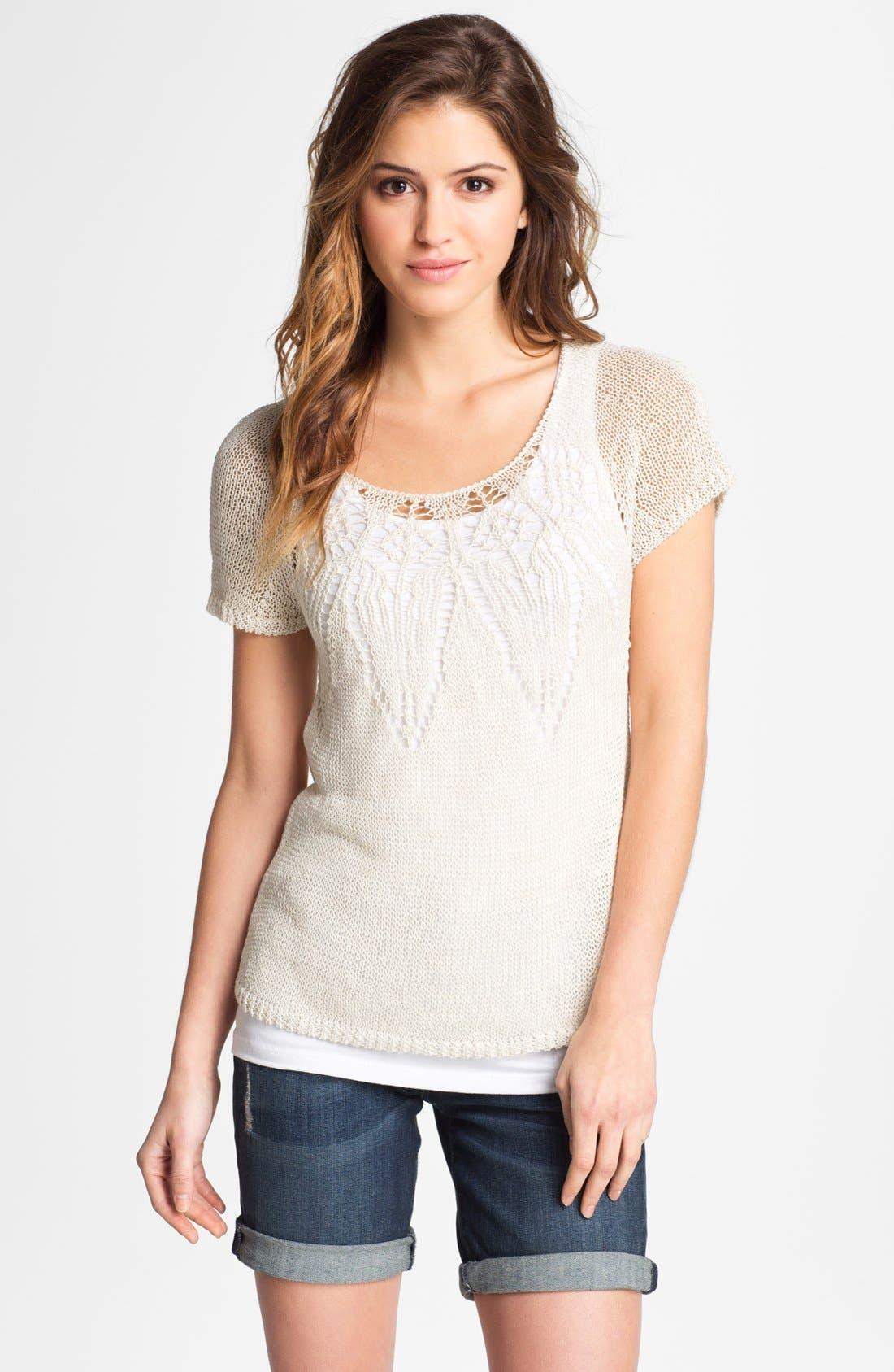Alternate Image 1 Selected - Lucky Brand 'Figi' Short Sleeve Sweater