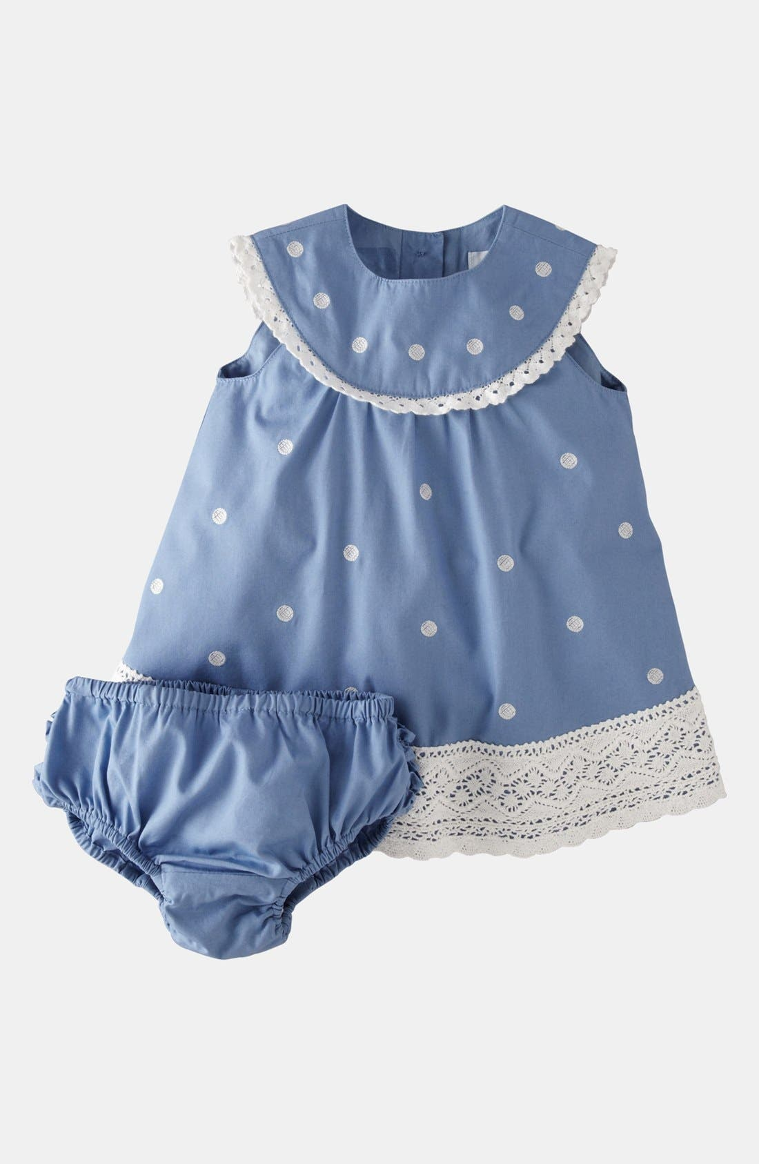 Alternate Image 1 Selected - Mini Boden 'Crochet Trim' Dress & Bloomers (Baby)