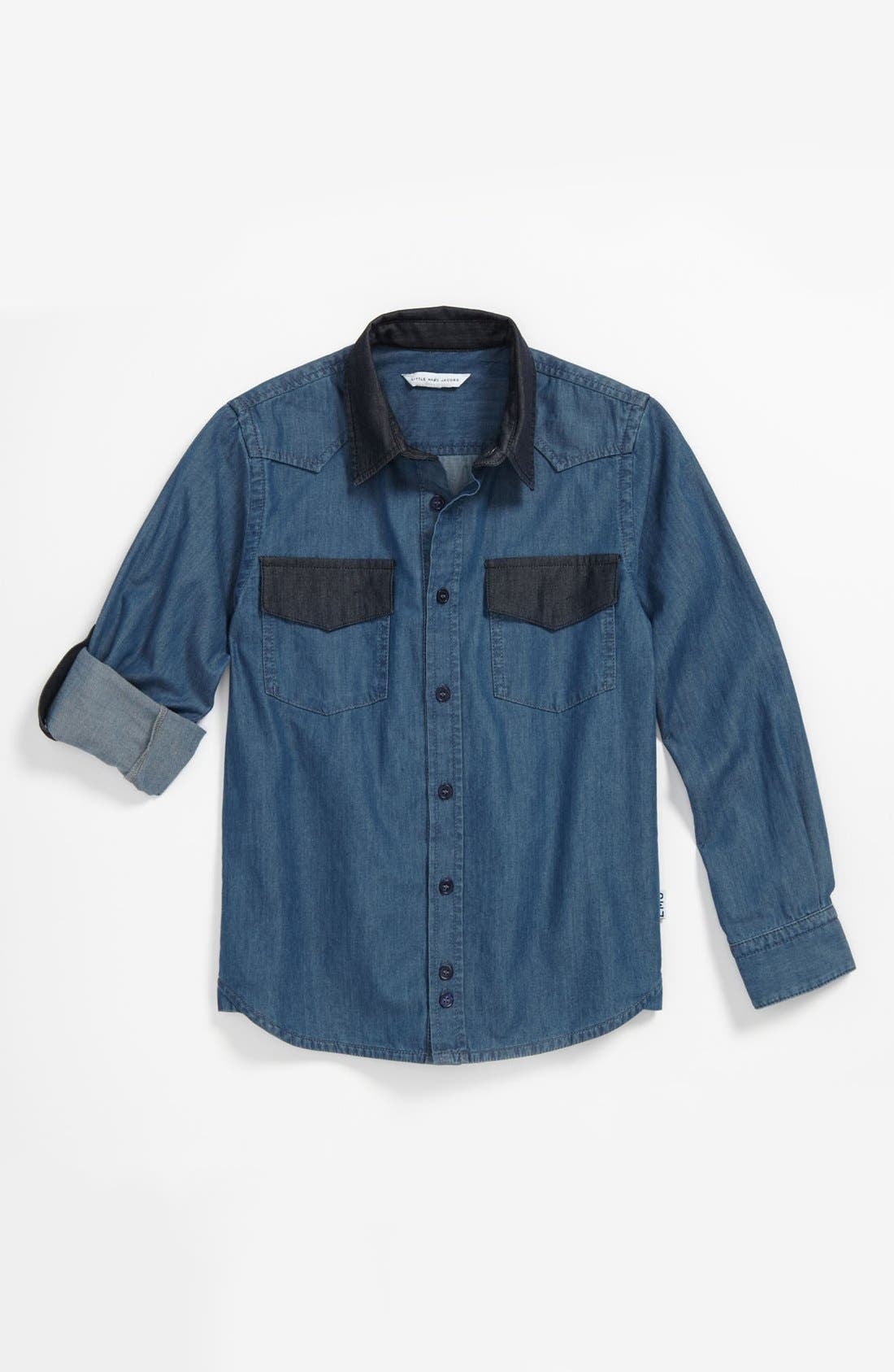 Alternate Image 1 Selected - LITTLE MARC JACOBS Chambray Shirt (Big Boys)