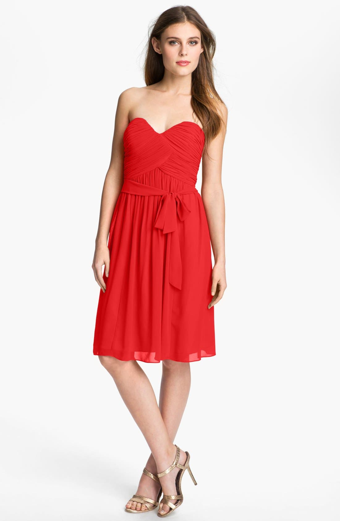 Alternate Image 1 Selected - Donna Morgan Ruched Chiffon Dress