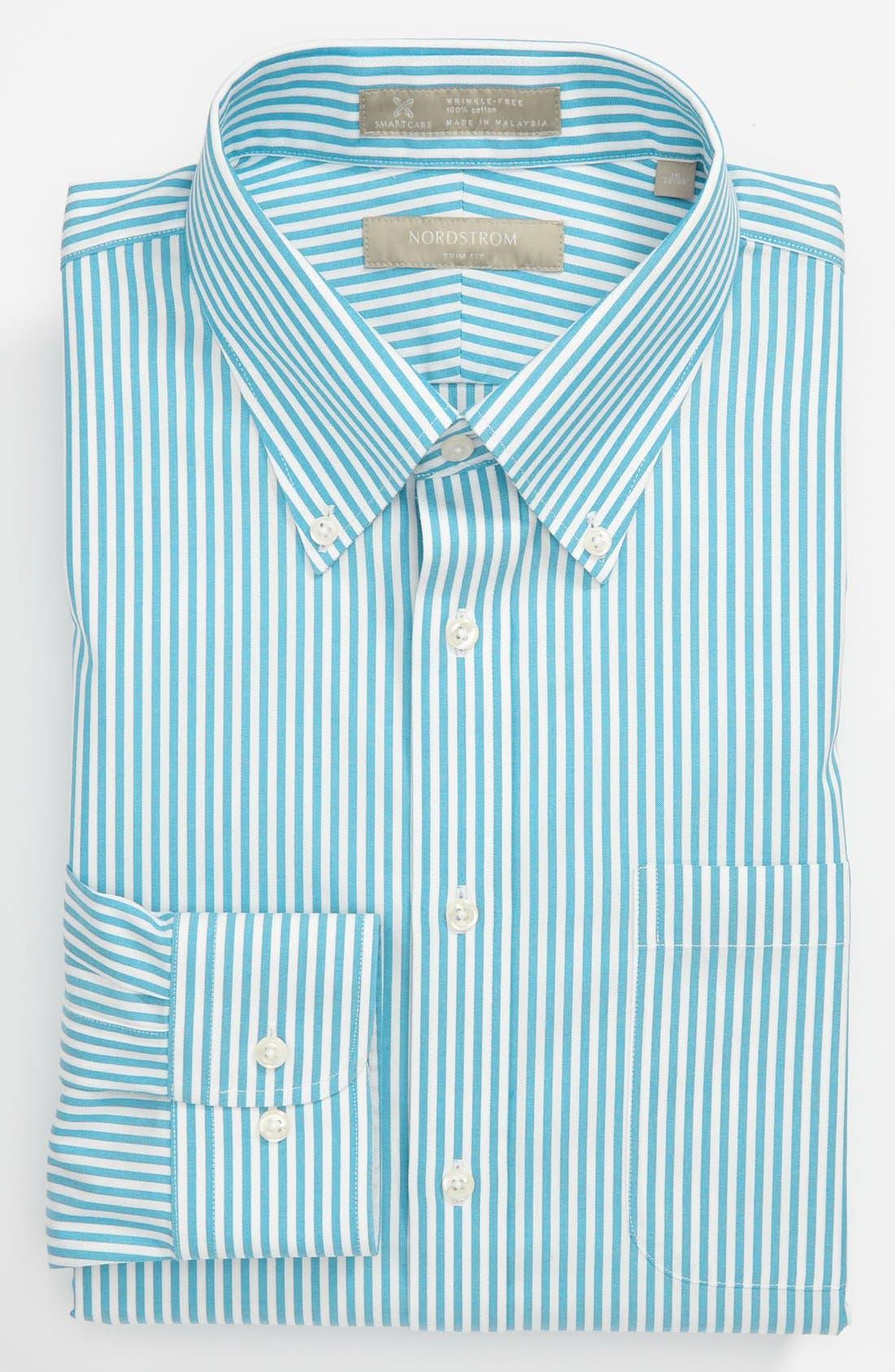 Main Image - Nordstrom Men's Shop Smartcare™ Wrinkle Free Trim Fit Stripe Dress Shirt