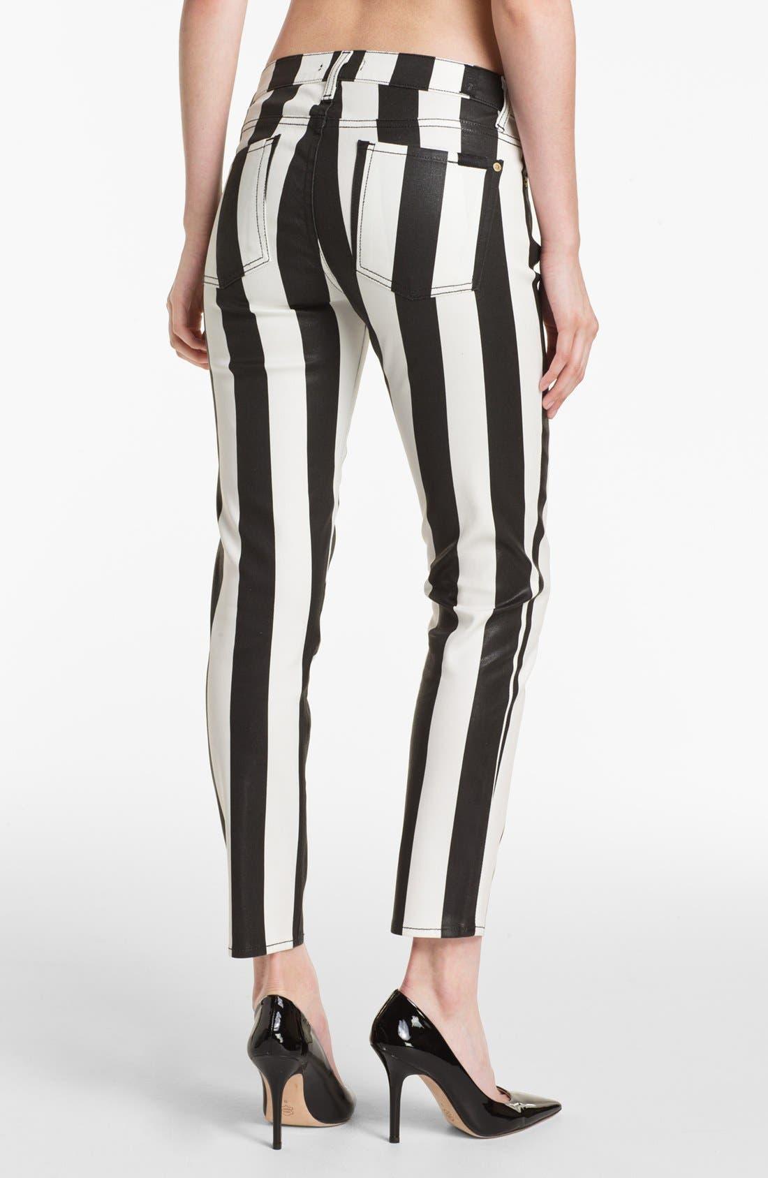 Alternate Image 2  - 7 For All Mankind® 'The Slim Cigarette' Stretch Jeans (Stripe Black)