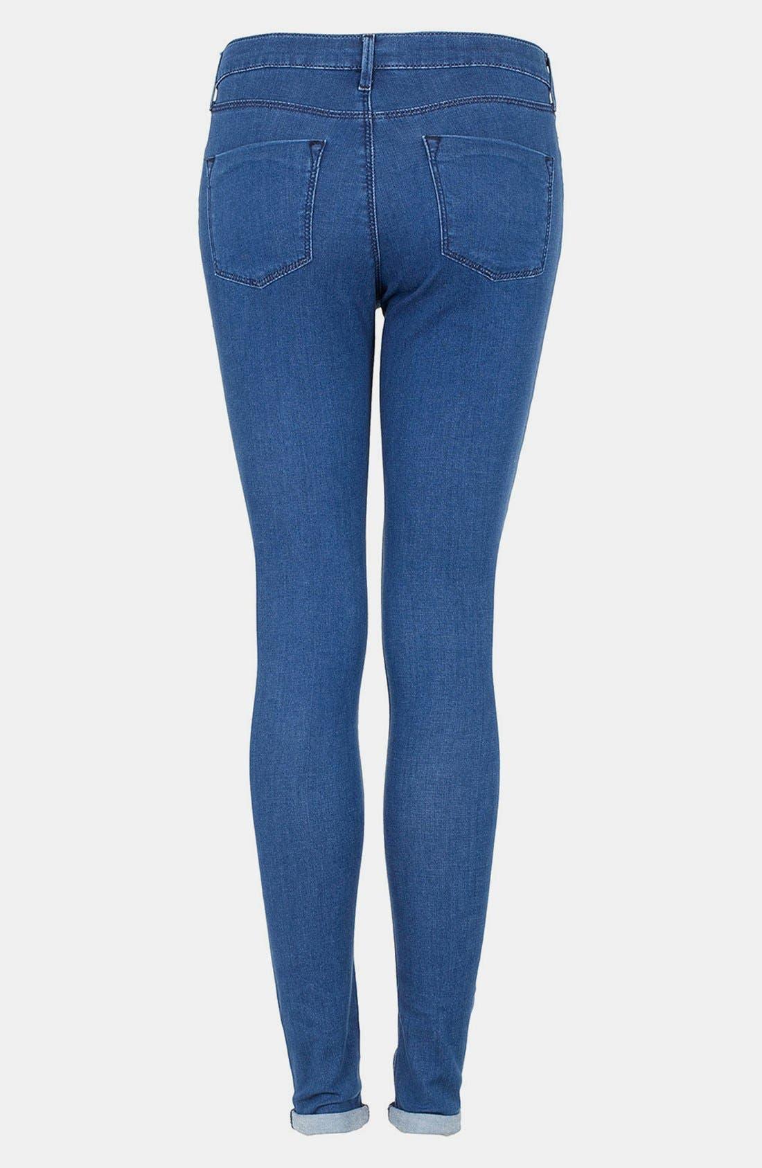 Alternate Image 2  - Topshop Moto 'Leigh' Skinny Jeans (Blue) (Short)
