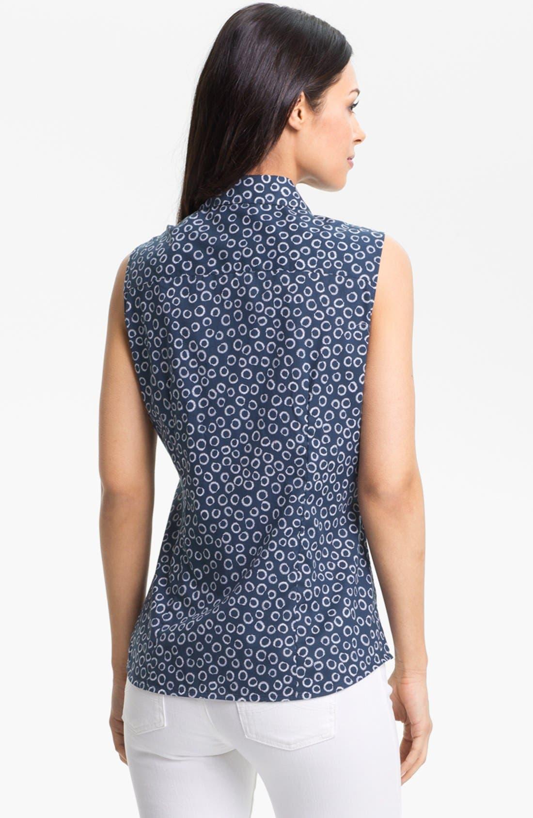 Alternate Image 2  - Foxcroft Sleeveless Print Shirt (Petite)
