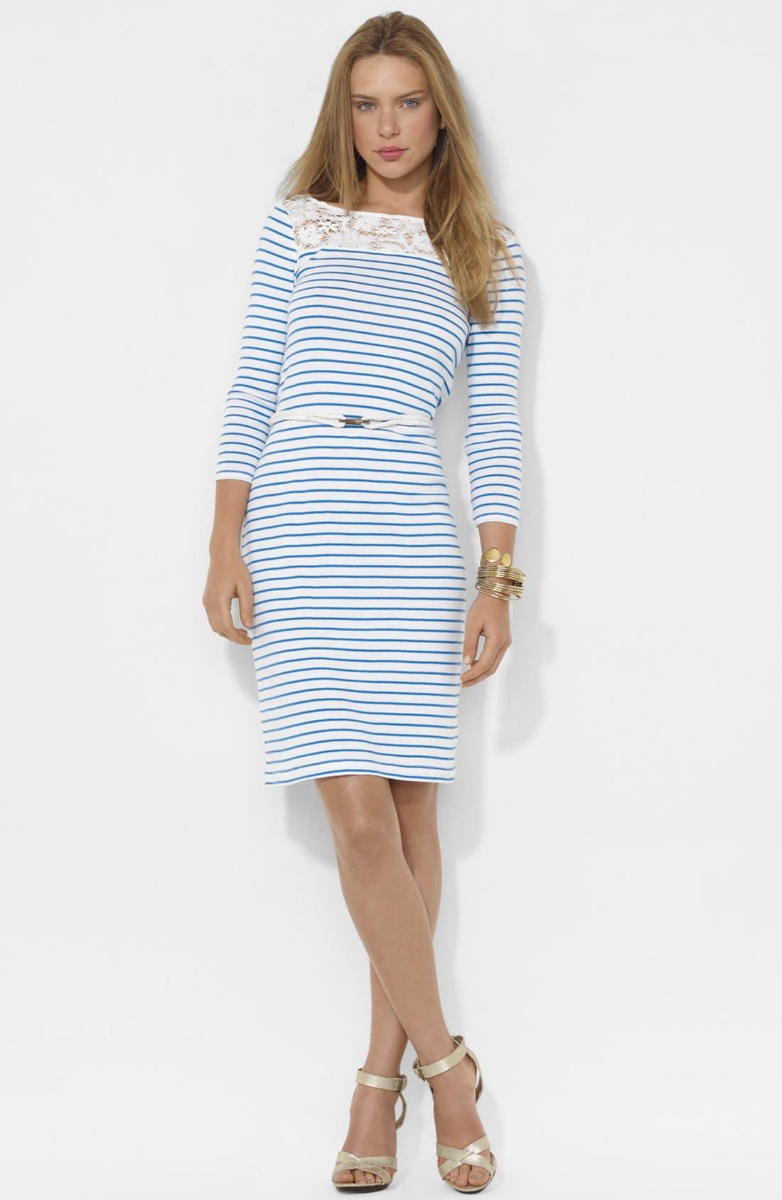 Alternate Image 1 Selected - Lauren Ralph Lauren Lace Trim Stripe Dress