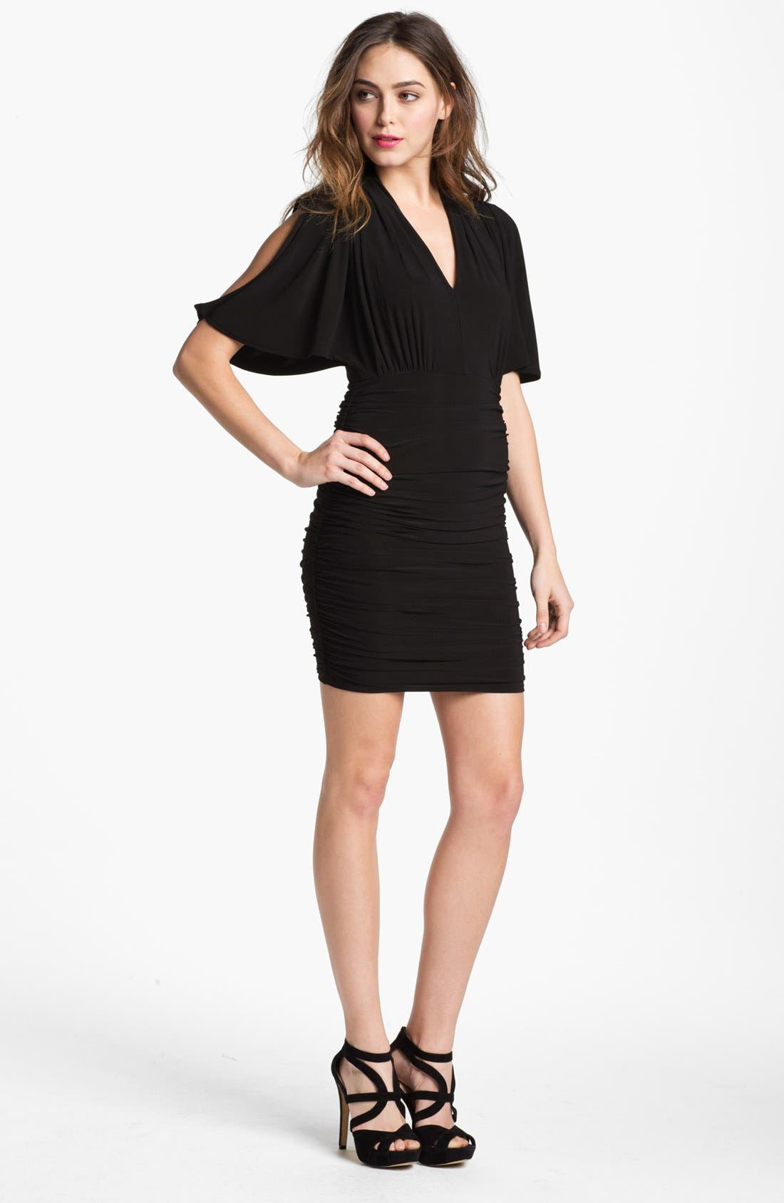 Main Image - French Connection 'Jilly' Drape Sleeve Ruched Minidress