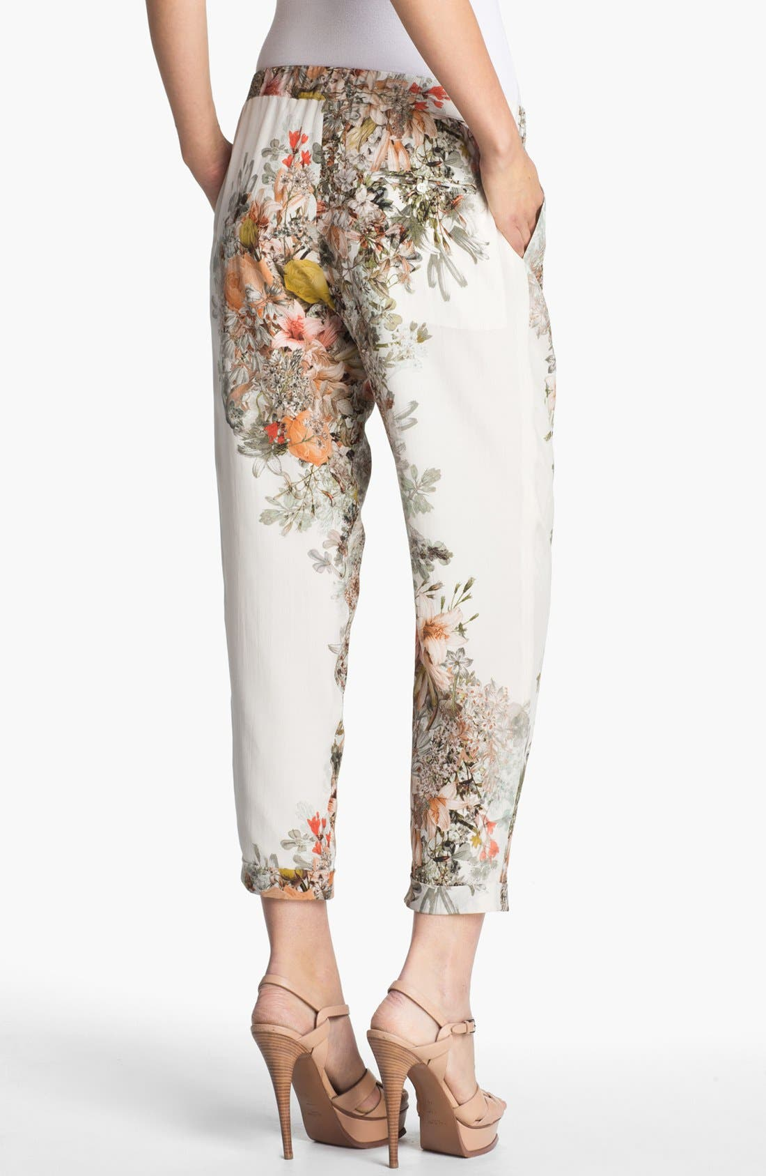 Alternate Image 2  - Haute Hippie Pleated Floral Print Silk Pants