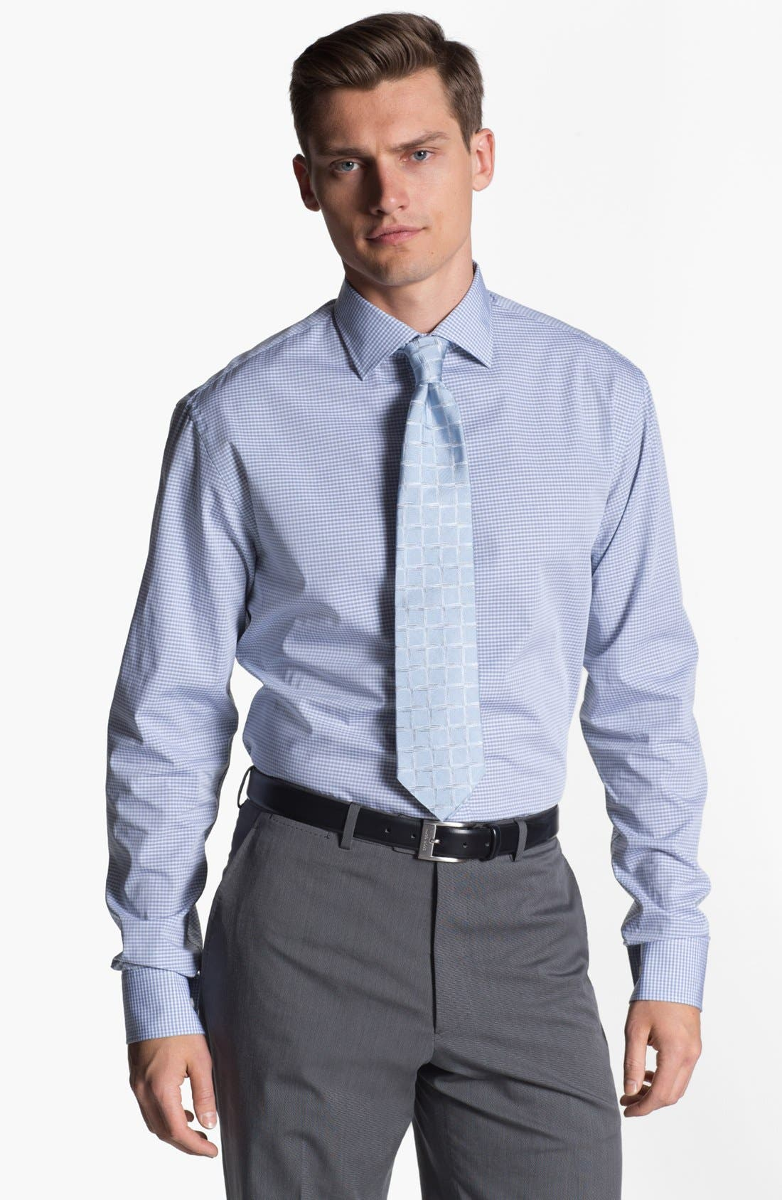 Main Image - Armani Collezioni Trim Fit Check Cotton Dress Shirt