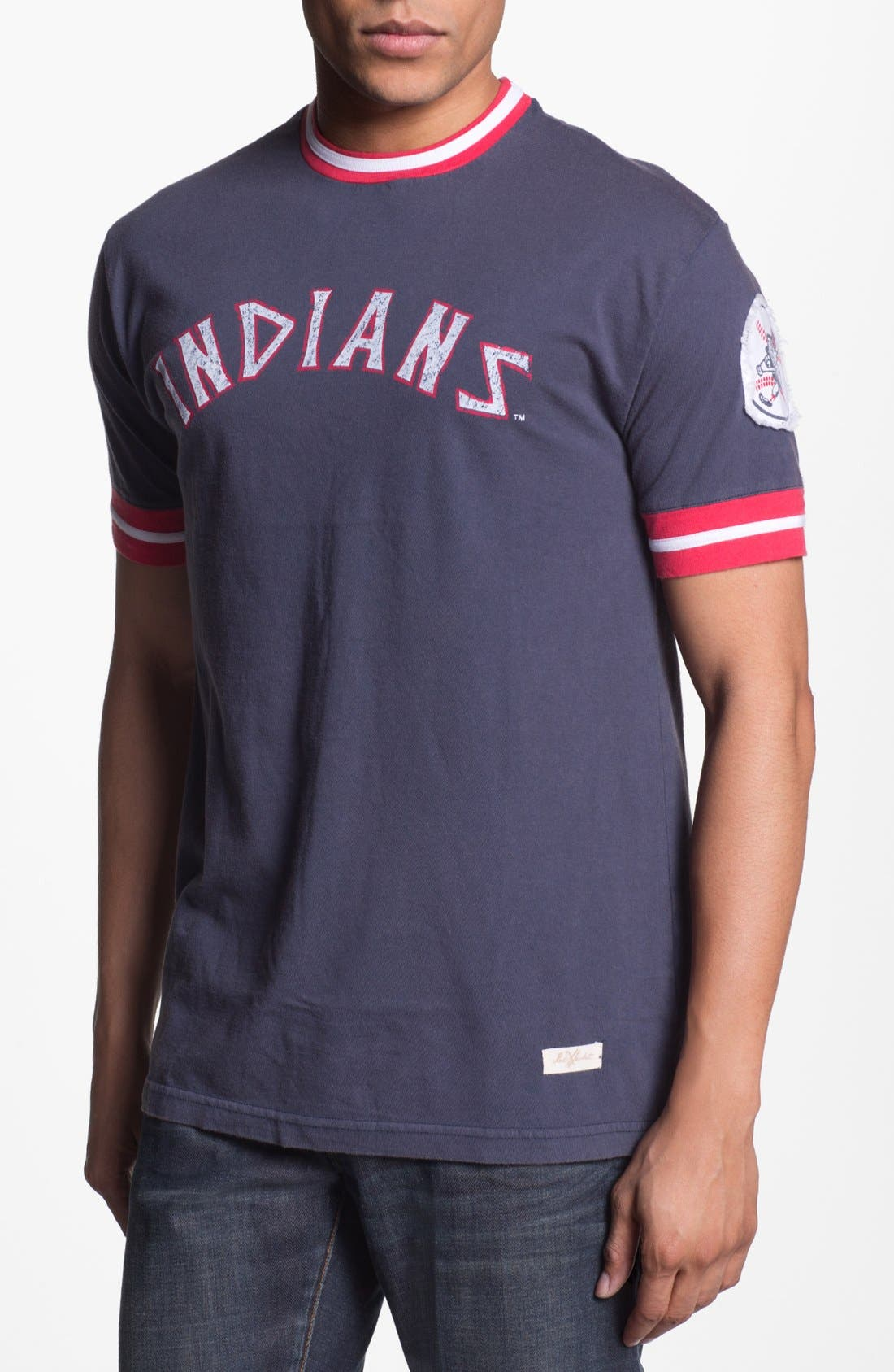 Alternate Image 1 Selected - Red Jacket 'Cleveland Indians' Trim Fit Crewneck Ringer T-Shirt