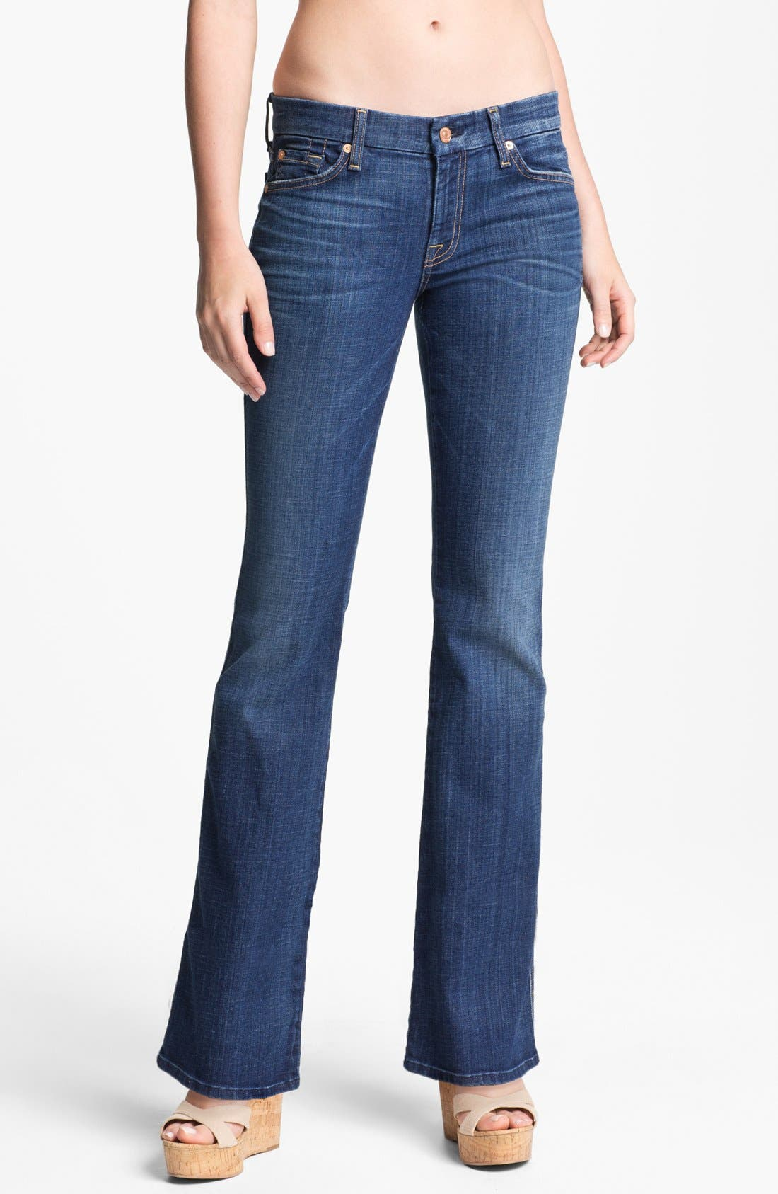 Main Image - 7 For All Mankind® 'Lexie A' Jeans (Washed Medium Indigo) (Petite)