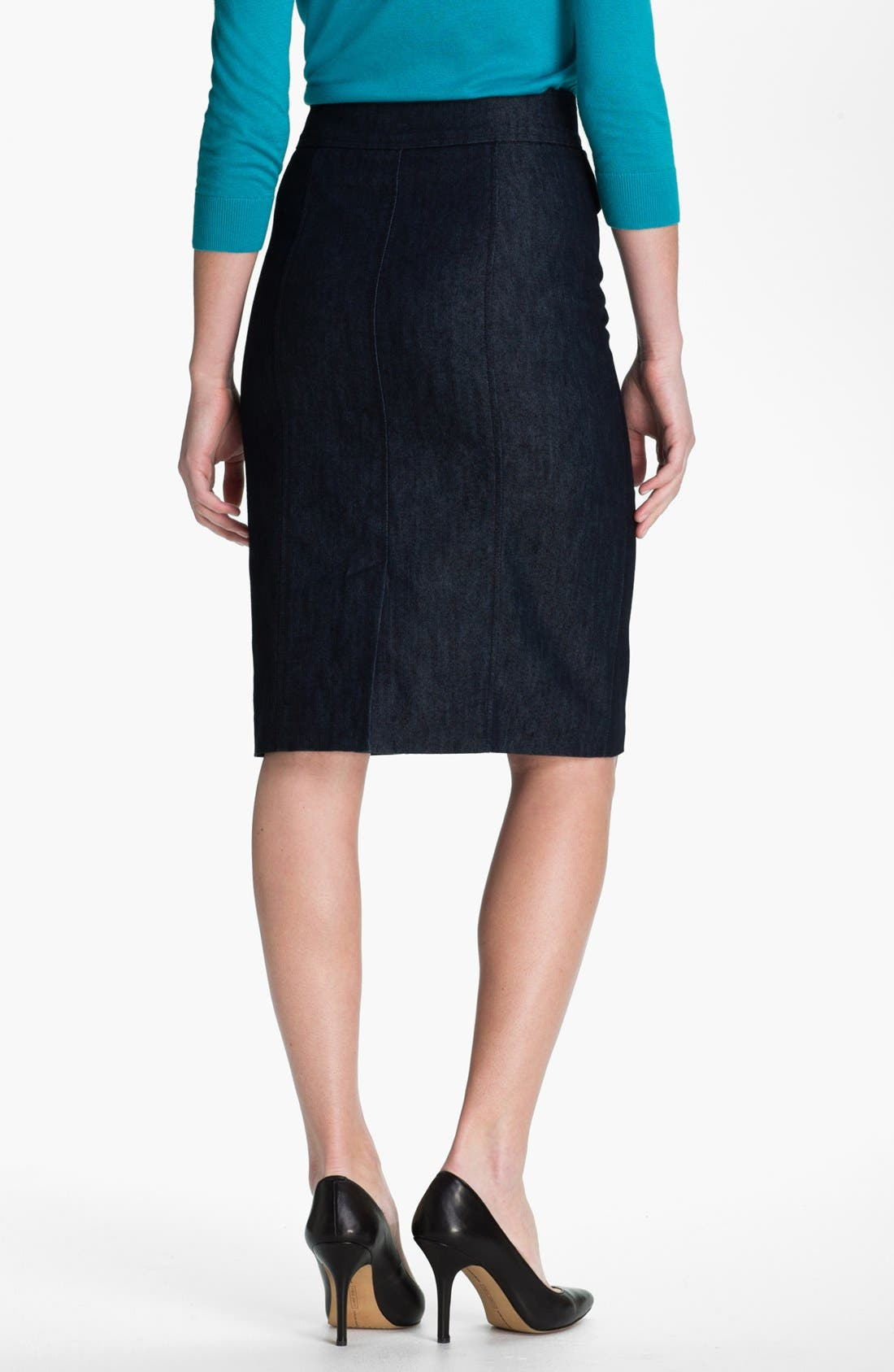 Alternate Image 2  - Halogen Double Button Front Denim Skirt (Petite)