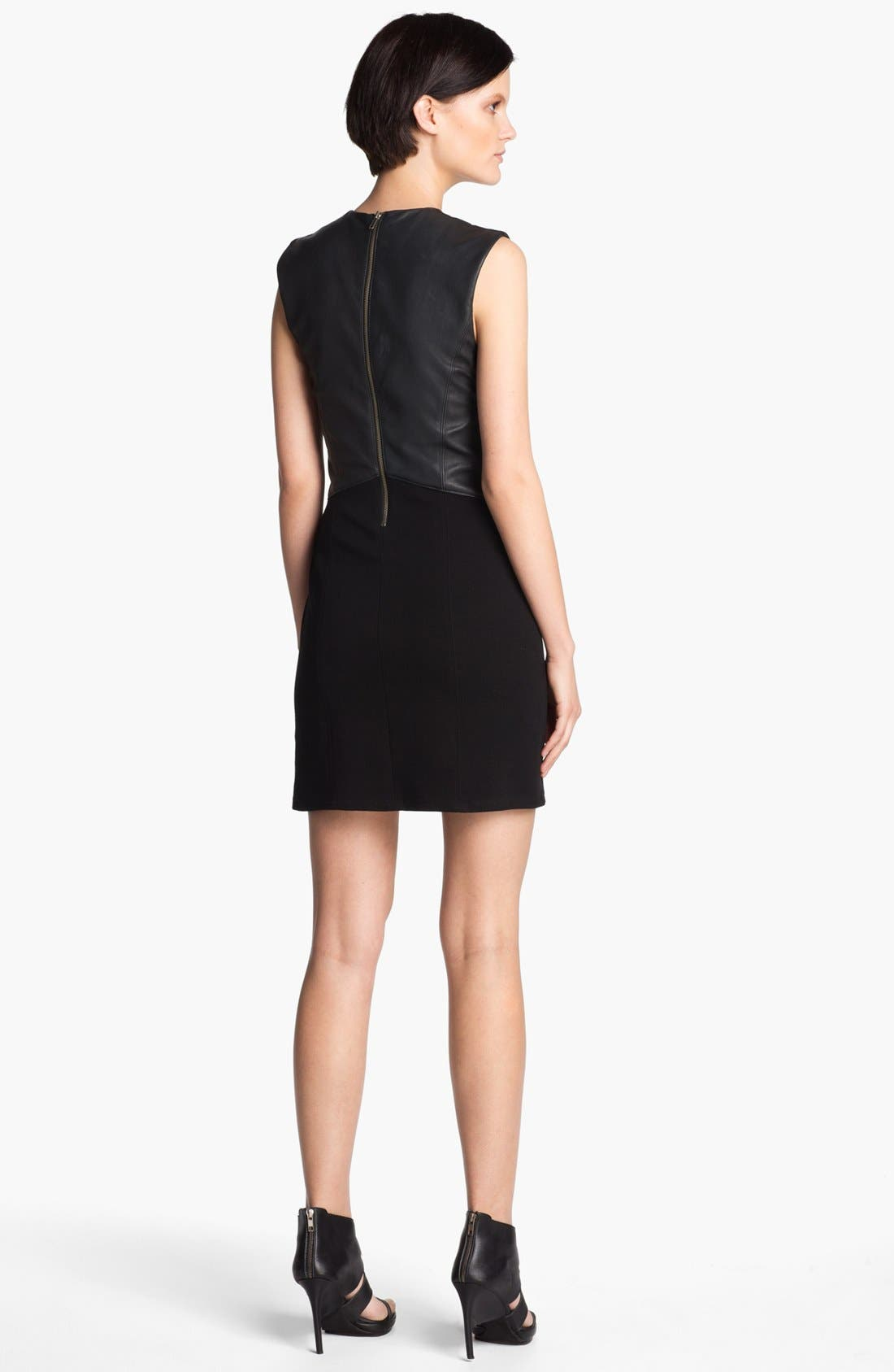 Alternate Image 2  - HELMUT Helmut Lang Leather Combo Minidress