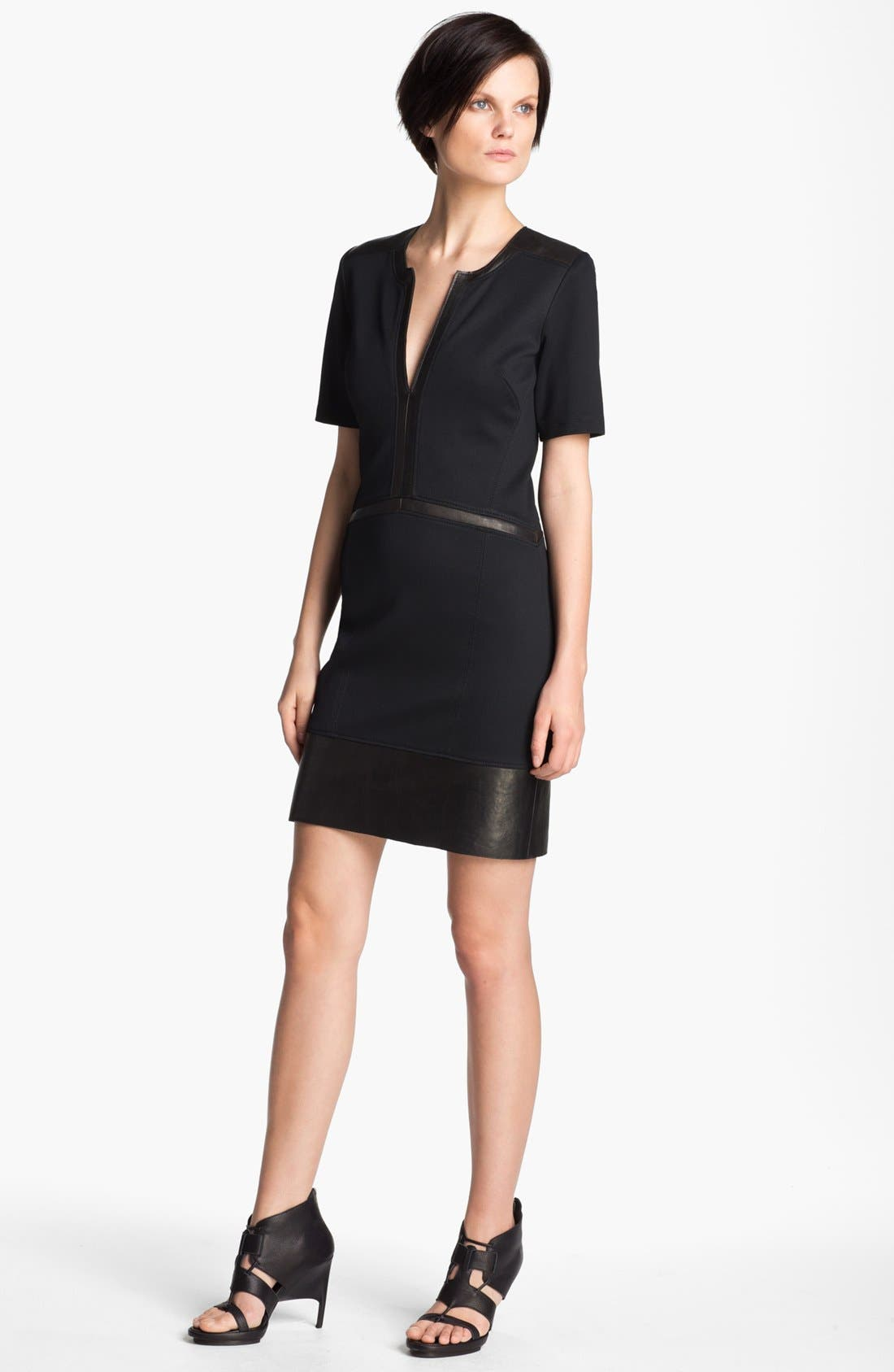 Main Image - Helmut Lang 'Motion' Leather Trim Dress