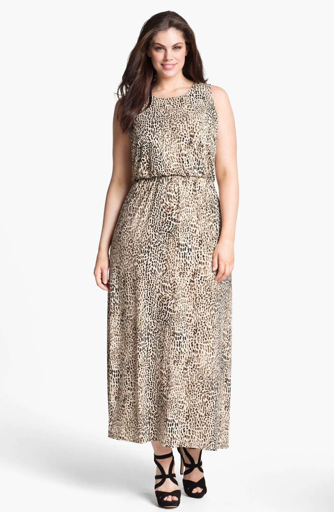 Alternate Image 1 Selected - Vince Camuto 'Rio' Cheetah Print Maxi Dress (Plus) (Online Only)