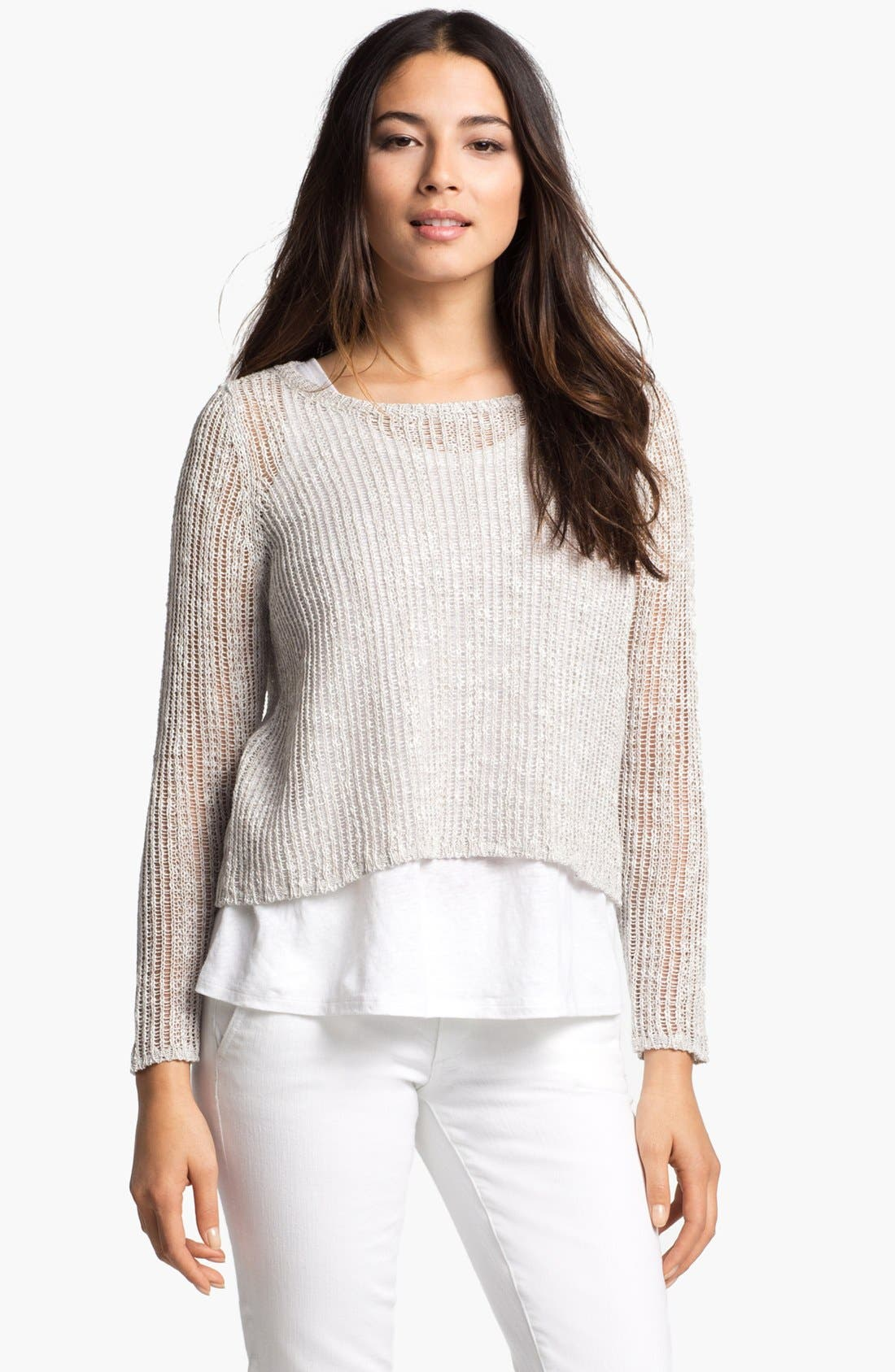 Alternate Image 1 Selected - Eileen Fisher Ballet Neck Boxy Sweater