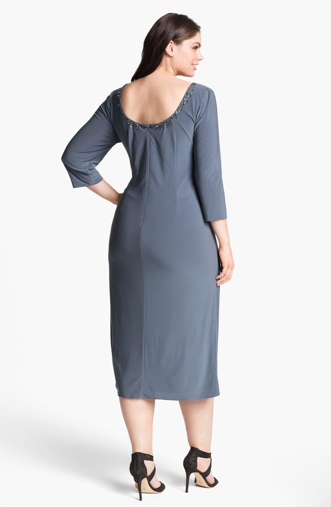Alternate Image 2  - Alex Evenings Embellished Faux Wrap Dress (Plus Size)