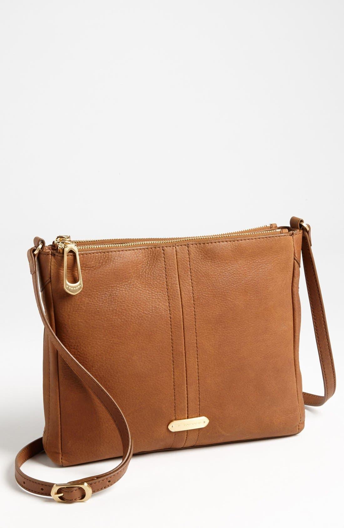 Alternate Image 1 Selected - T Tahari Pleated Double Zip Leather Crossbody Bag