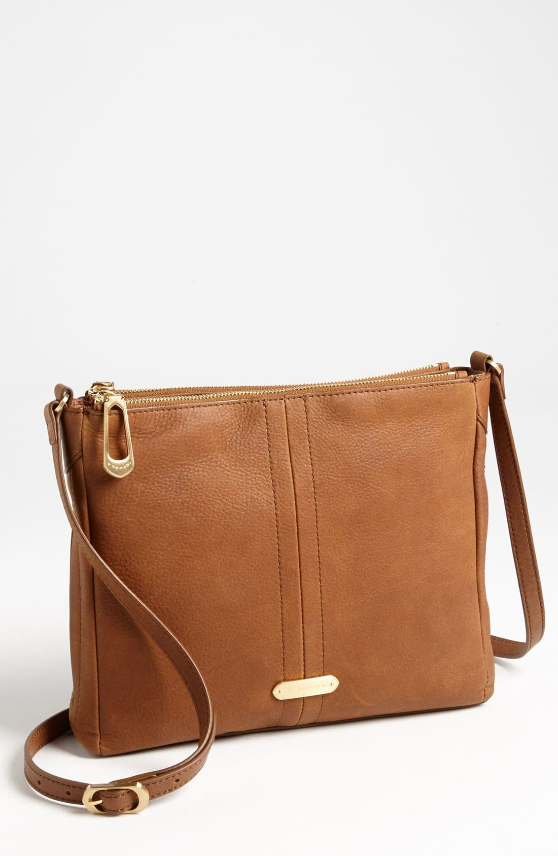 Main Image - T Tahari Pleated Double Zip Leather Crossbody Bag