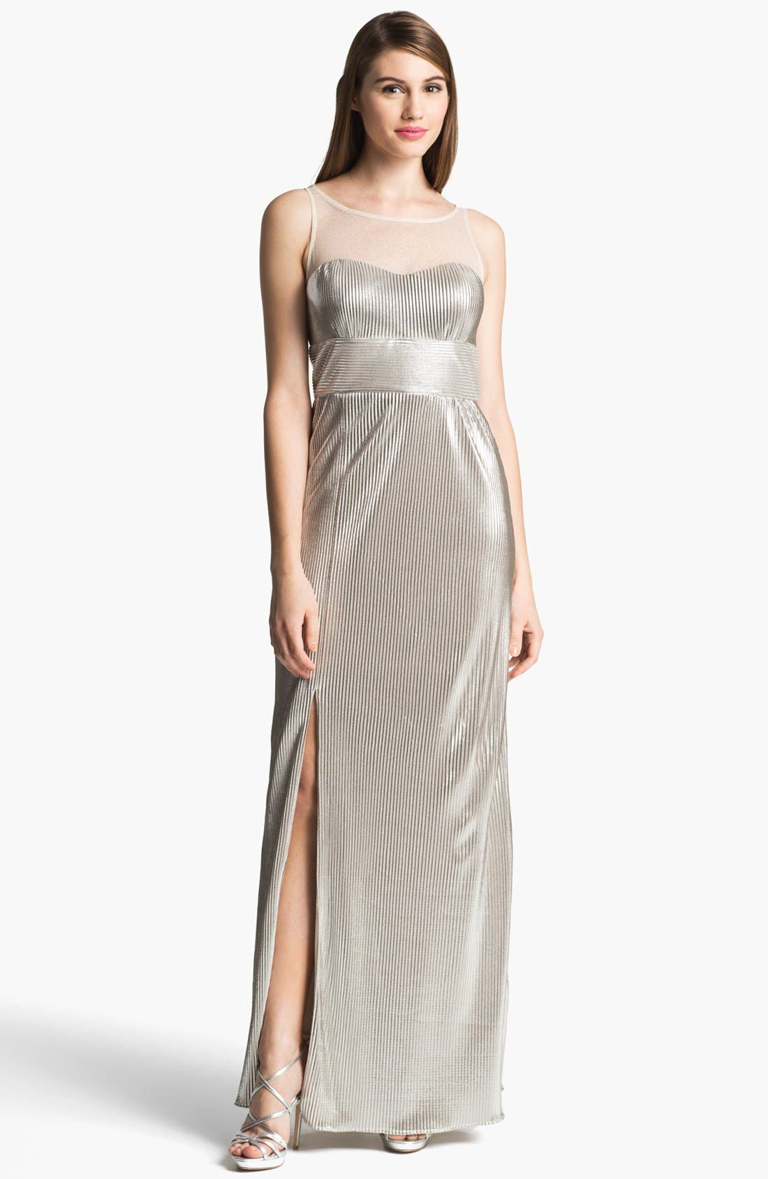 Main Image - Hailey by Adrianna Papell Metallic Illusion Yoke Gown (Online Only)