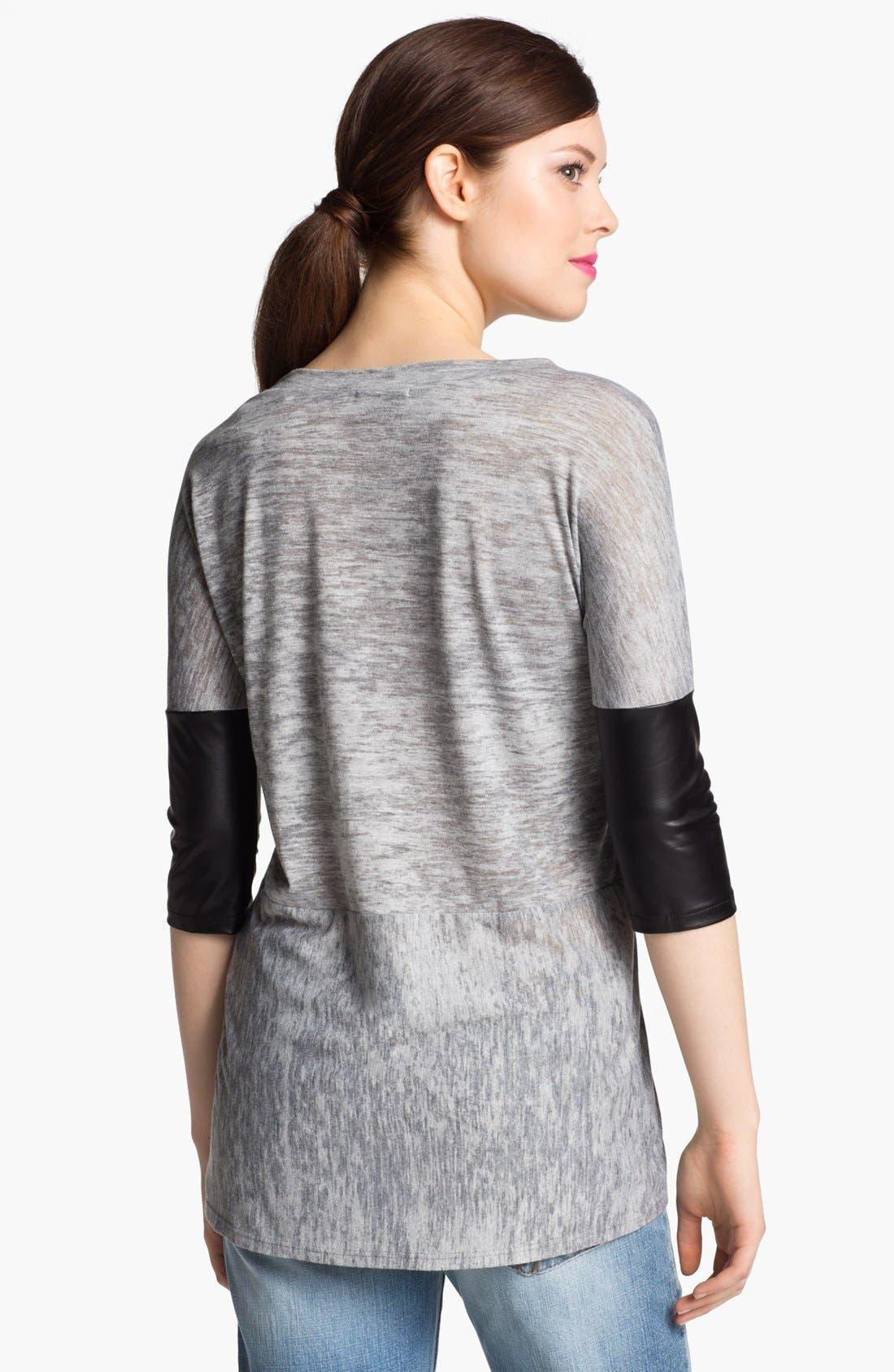 Alternate Image 2  - I.Ner Faux Leather Sleeve Slub Tee