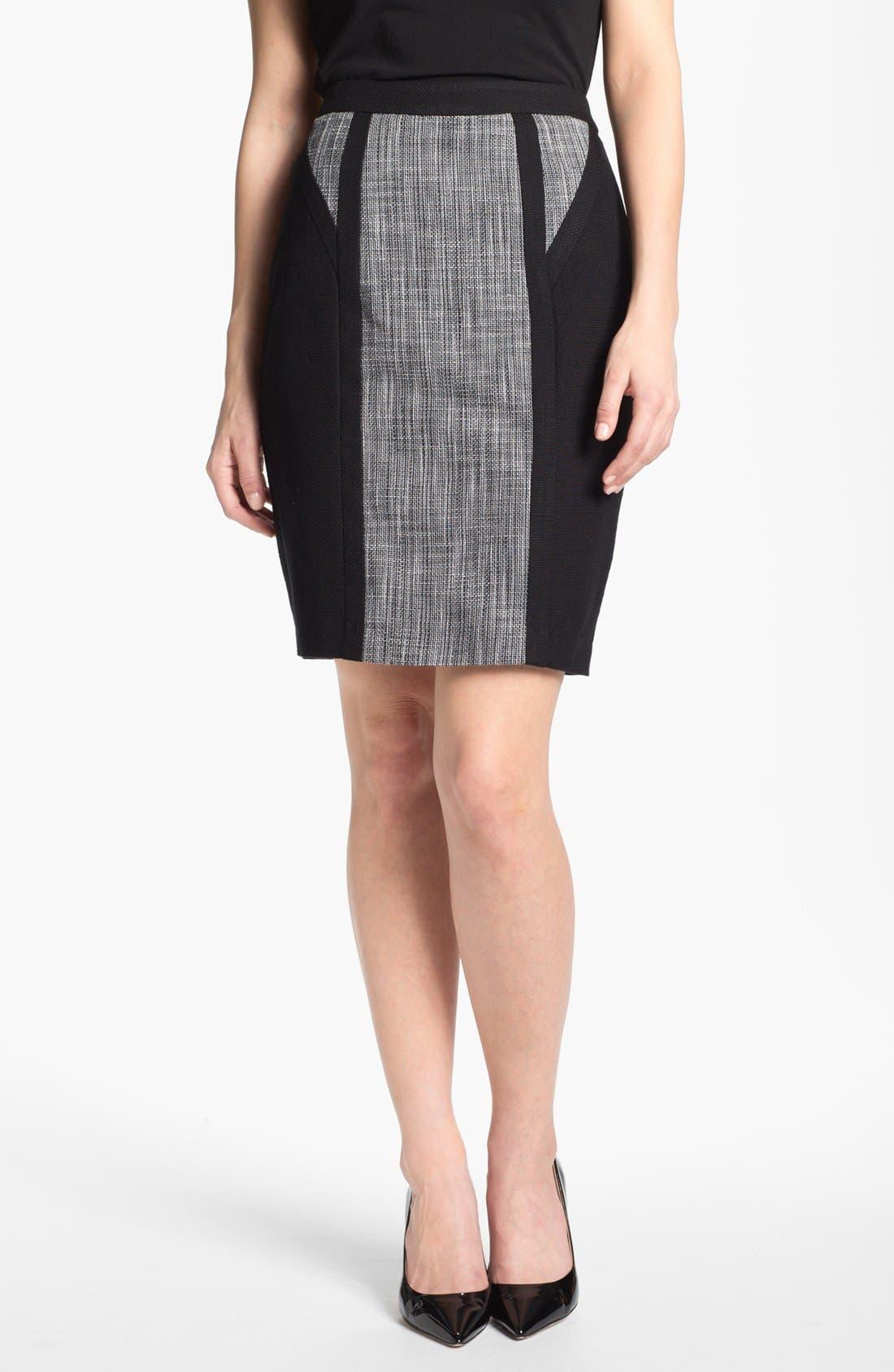 Alternate Image 1 Selected - Calvin Klein Mixed Media Skirt