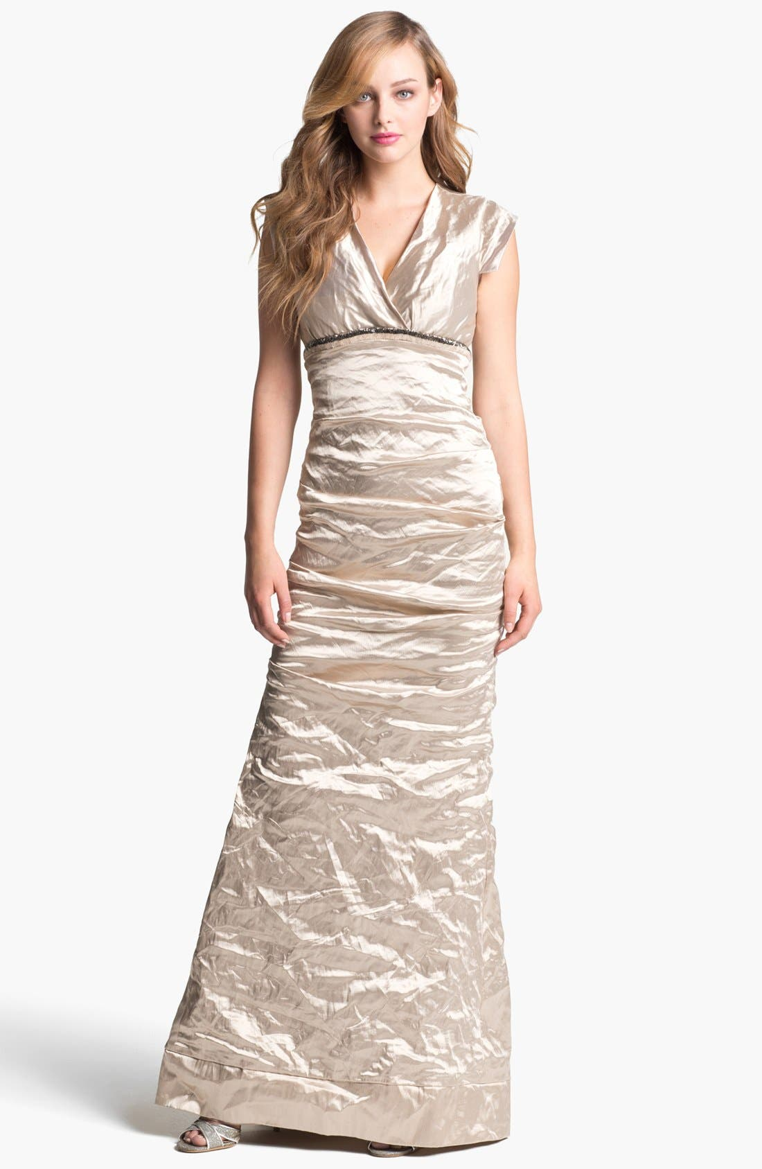 Alternate Image 1 Selected - Nicole Miller Techno Metal Trumpet Gown