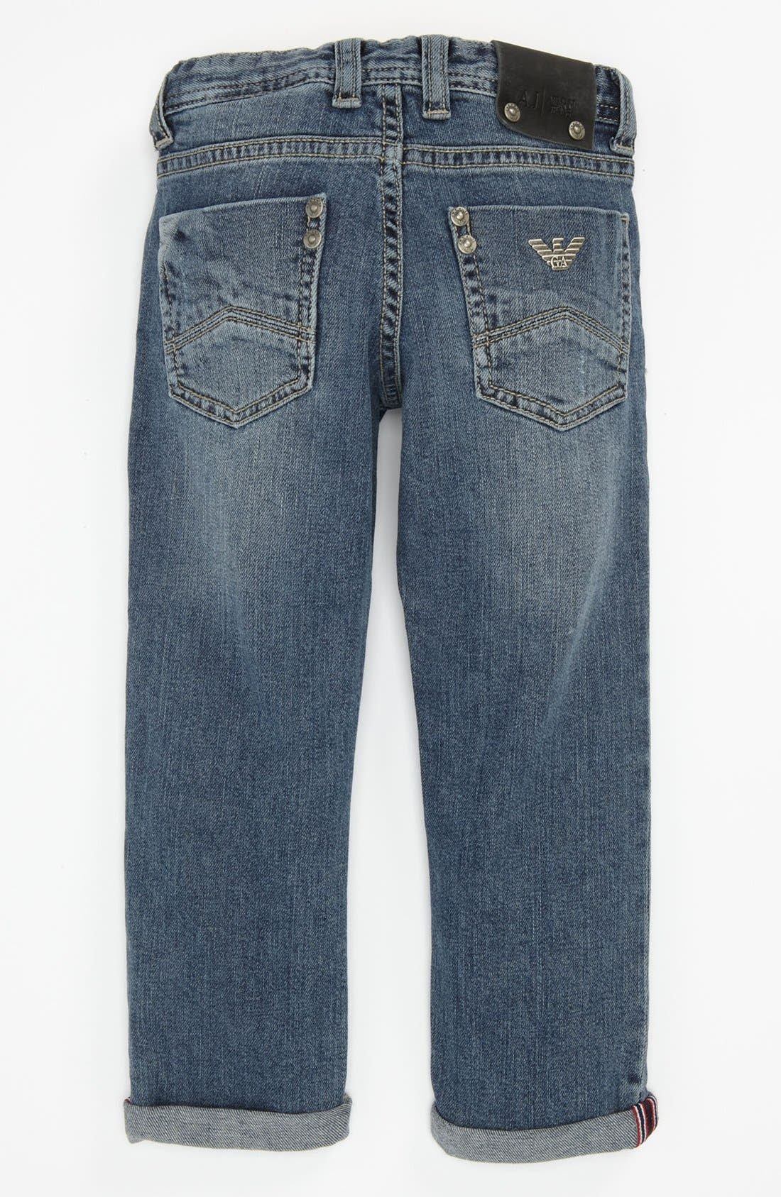 Main Image - Armani Junior Straight Leg Jeans (Toddler & Little Boy)