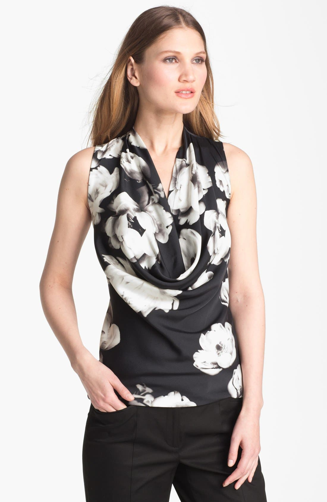 Alternate Image 1 Selected - Classiques Entier® Cowl Neck Stretch Silk Blouse