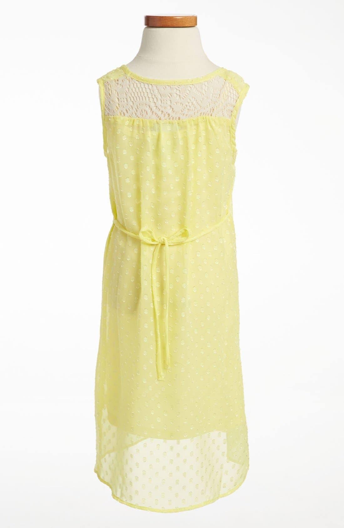 Alternate Image 2  - Paper Doll Chiffon Crochet Dress (Little Girls & Big Girls)
