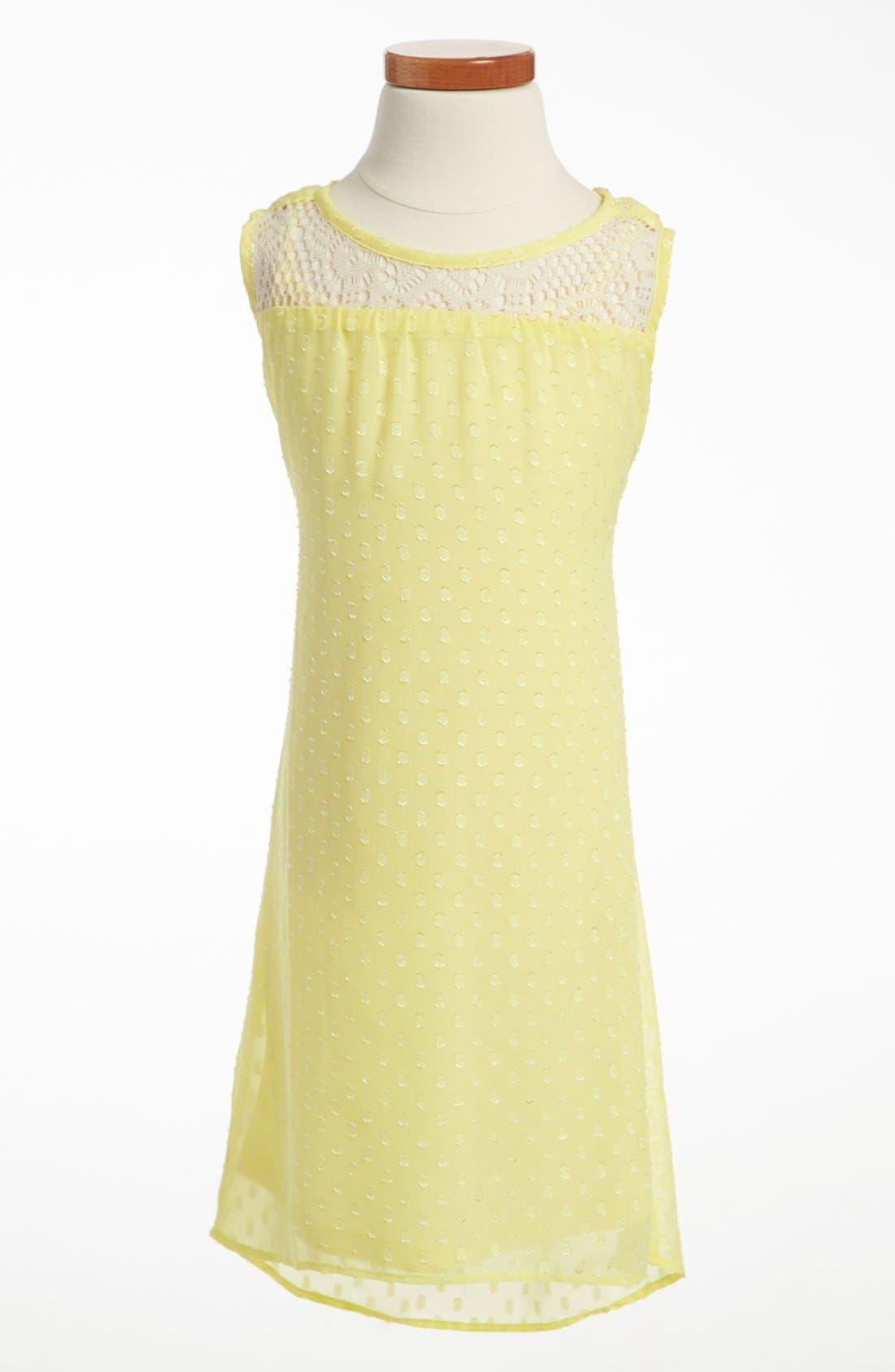 Main Image - Paper Doll Chiffon Crochet Dress (Little Girls & Big Girls)