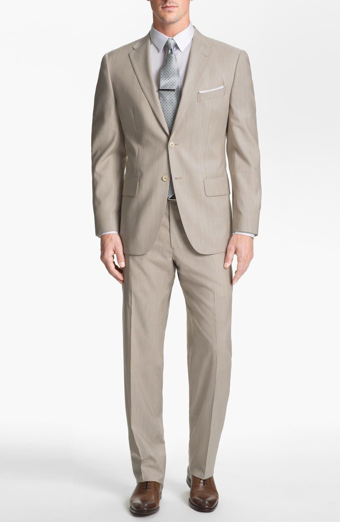 Main Image - Joseph Abboud Trim Fit Stripe Wool Suit