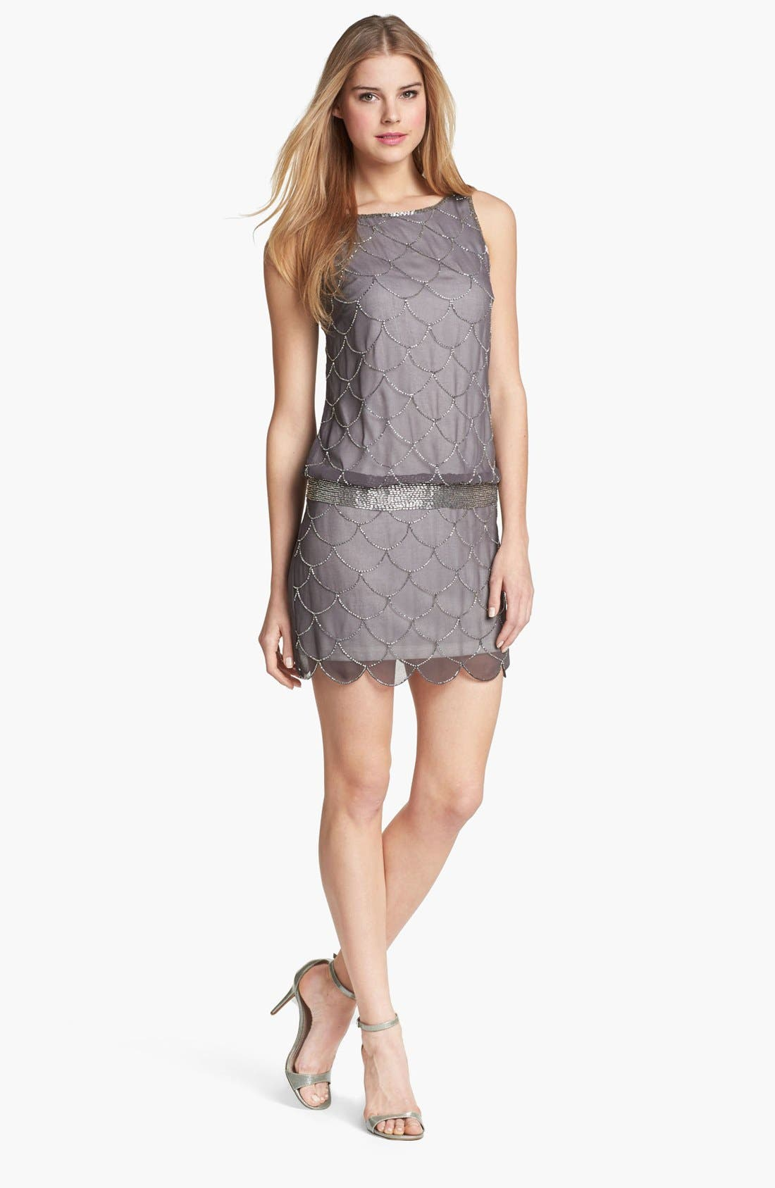 Alternate Image 1 Selected - Adrianna Papell 'Fish Scale' Embellished Mesh Dress