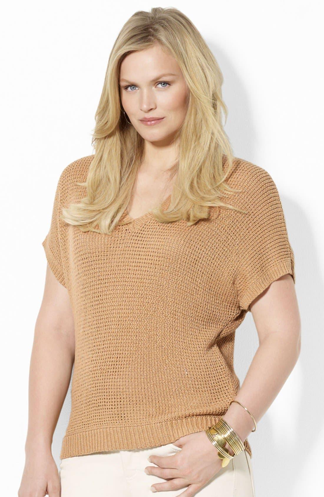 Main Image - Lauren Ralph Lauren Dolman Sleeve Knit Pullover (Plus)