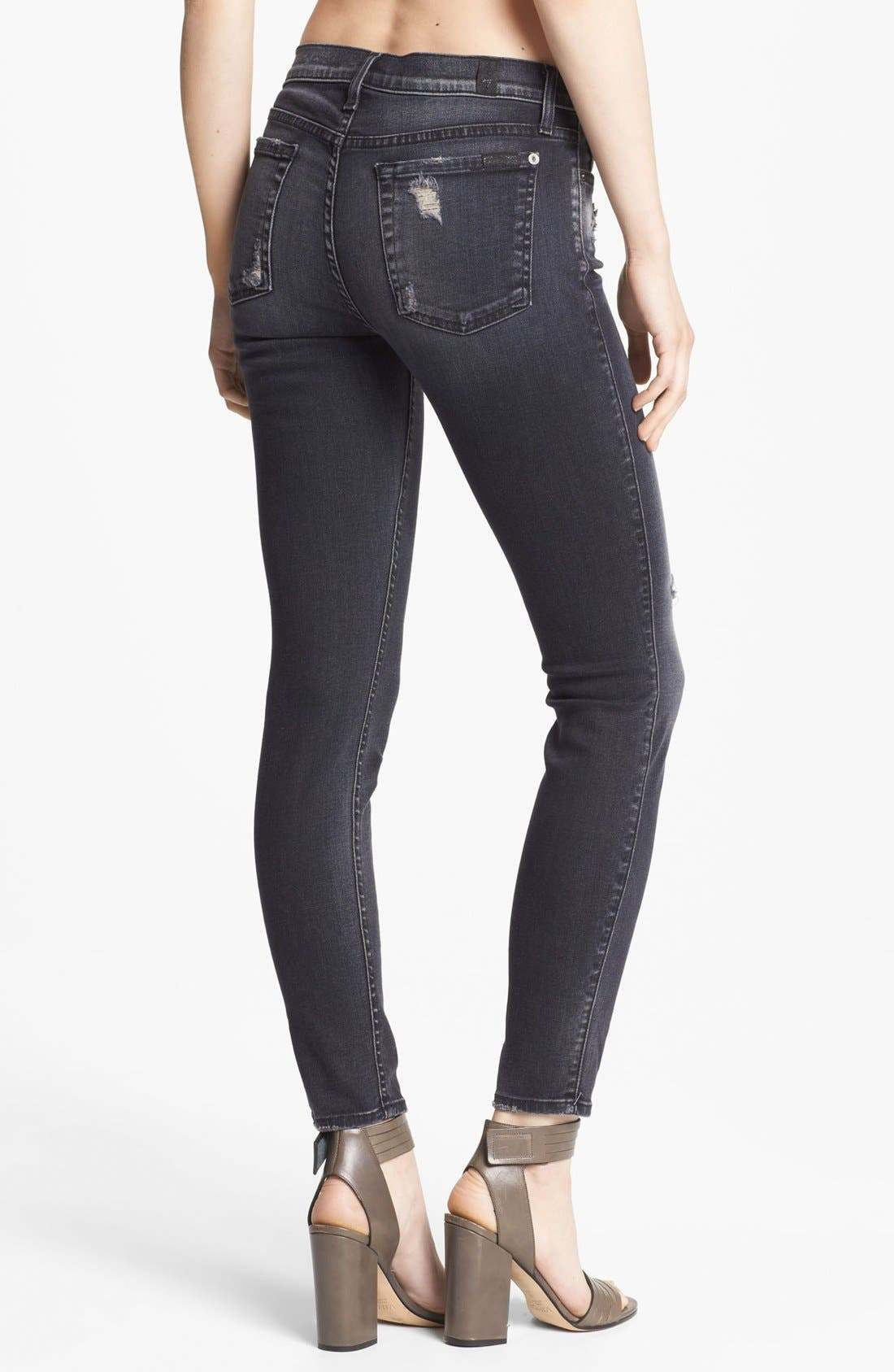 Alternate Image 2  - 7 For All Mankind® 'The Skinny 29' Stretch Jeans (Blue Black Destroyed)