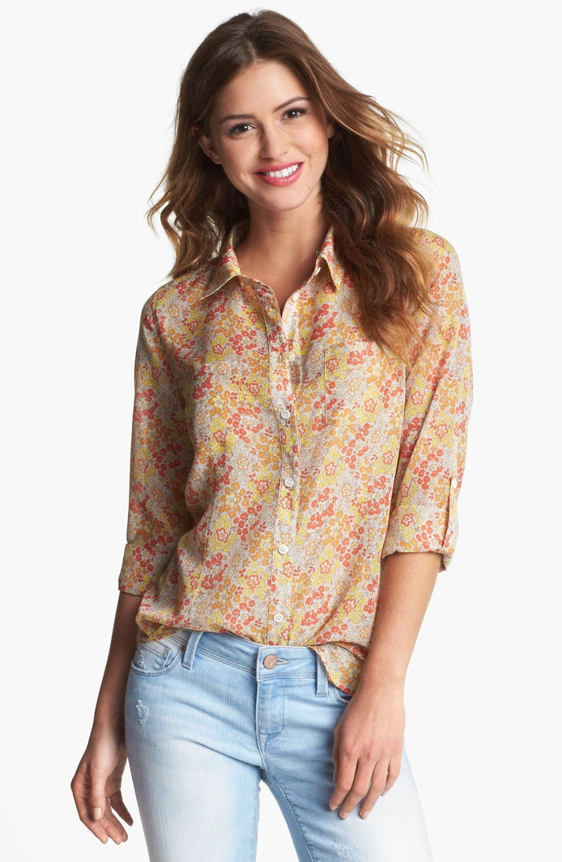 Alternate Image 1 Selected - Two by Vince Camuto Print Utility Shirt (Petite)