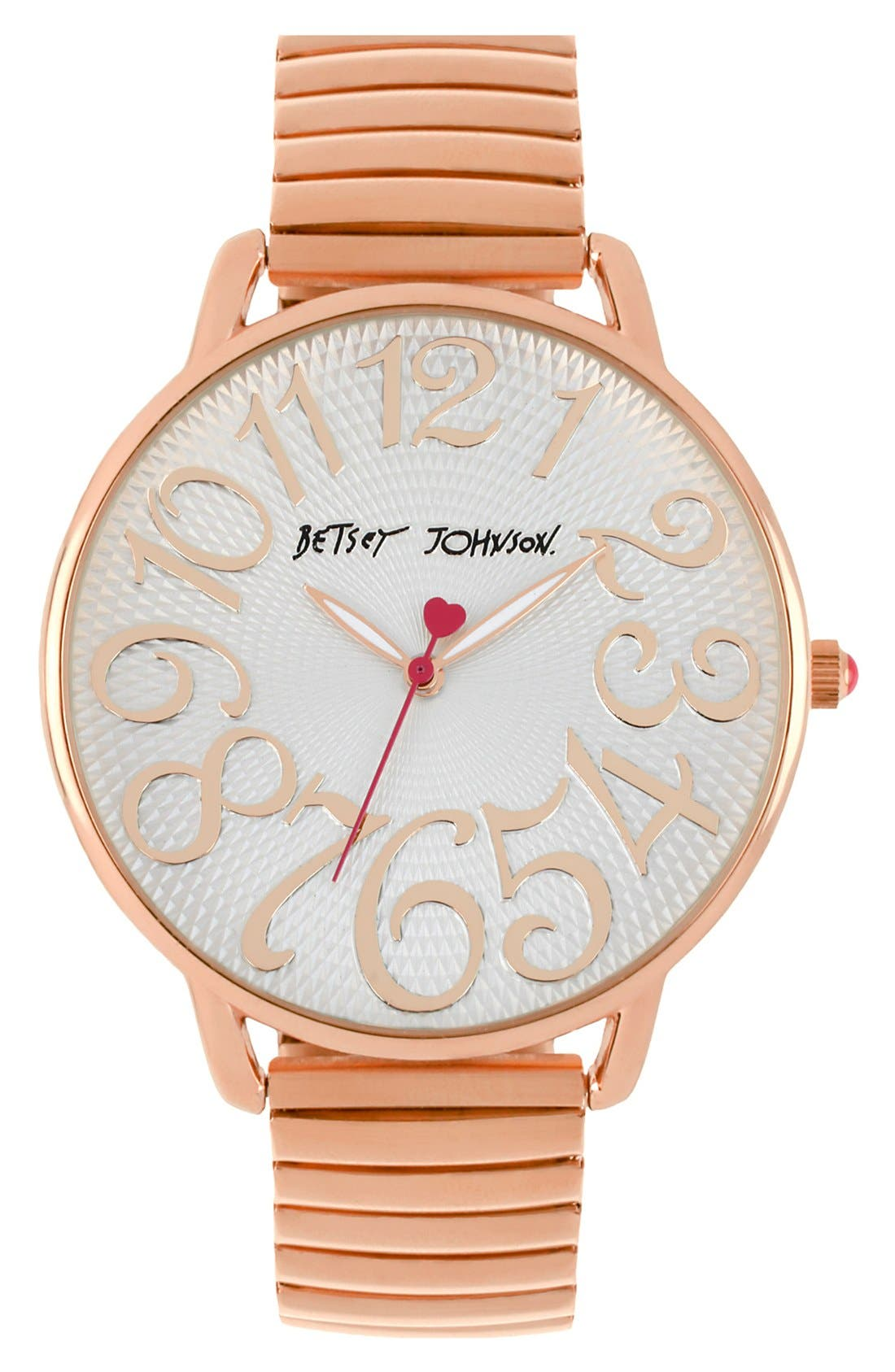 Main Image - Betsey Johnson Round Expansion Band Watch, 43mm
