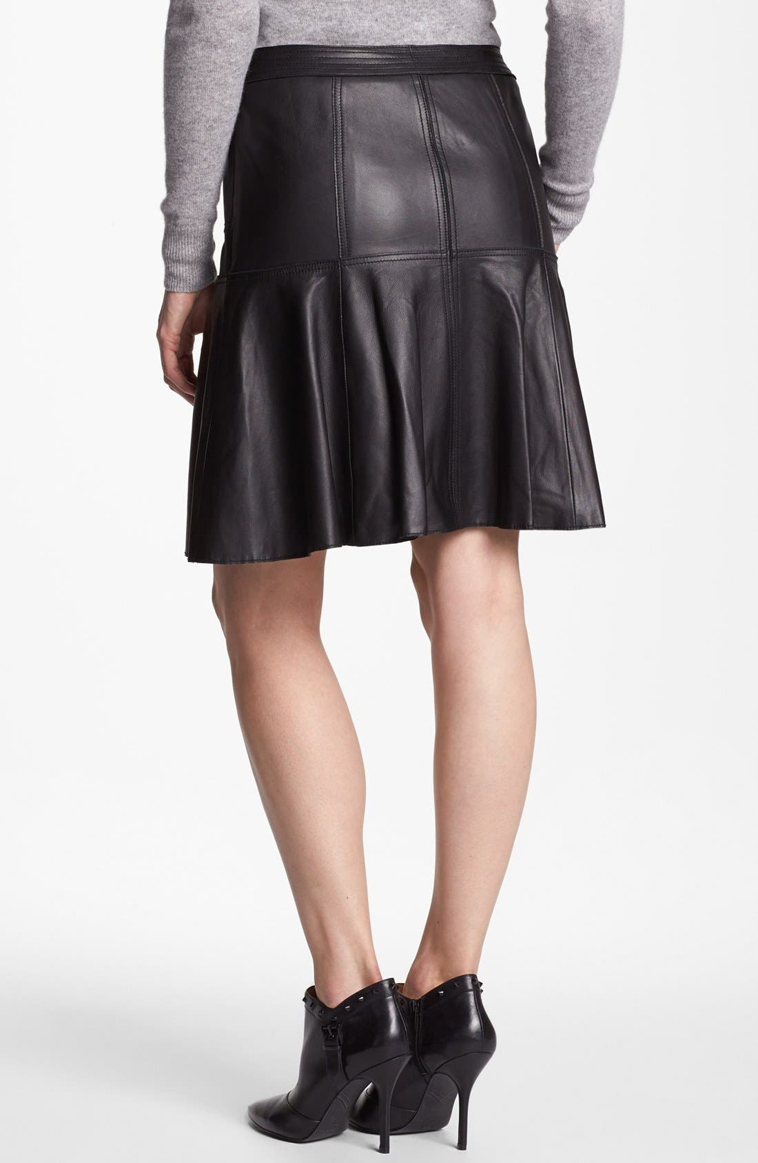 Alternate Image 4  - Halogen® Leather A-Line Skirt
