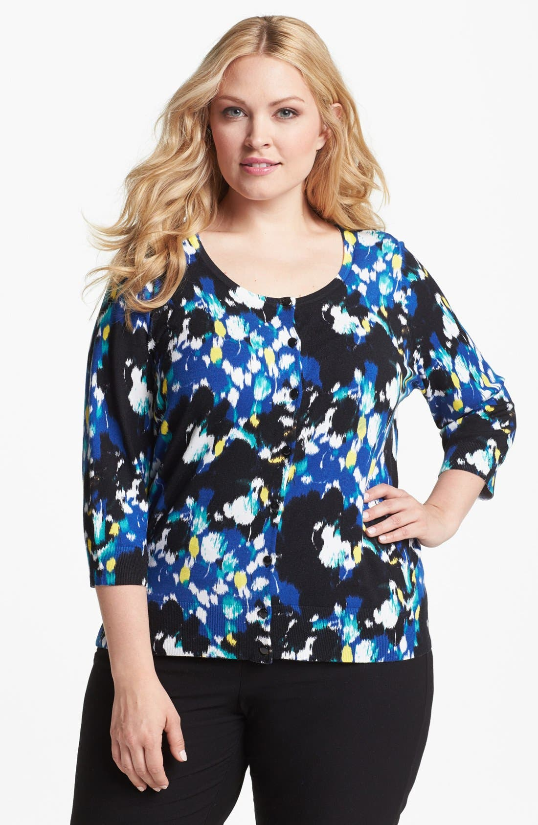 Alternate Image 1 Selected - Sejour 'Spring' Pattern Cardigan (Plus Size)