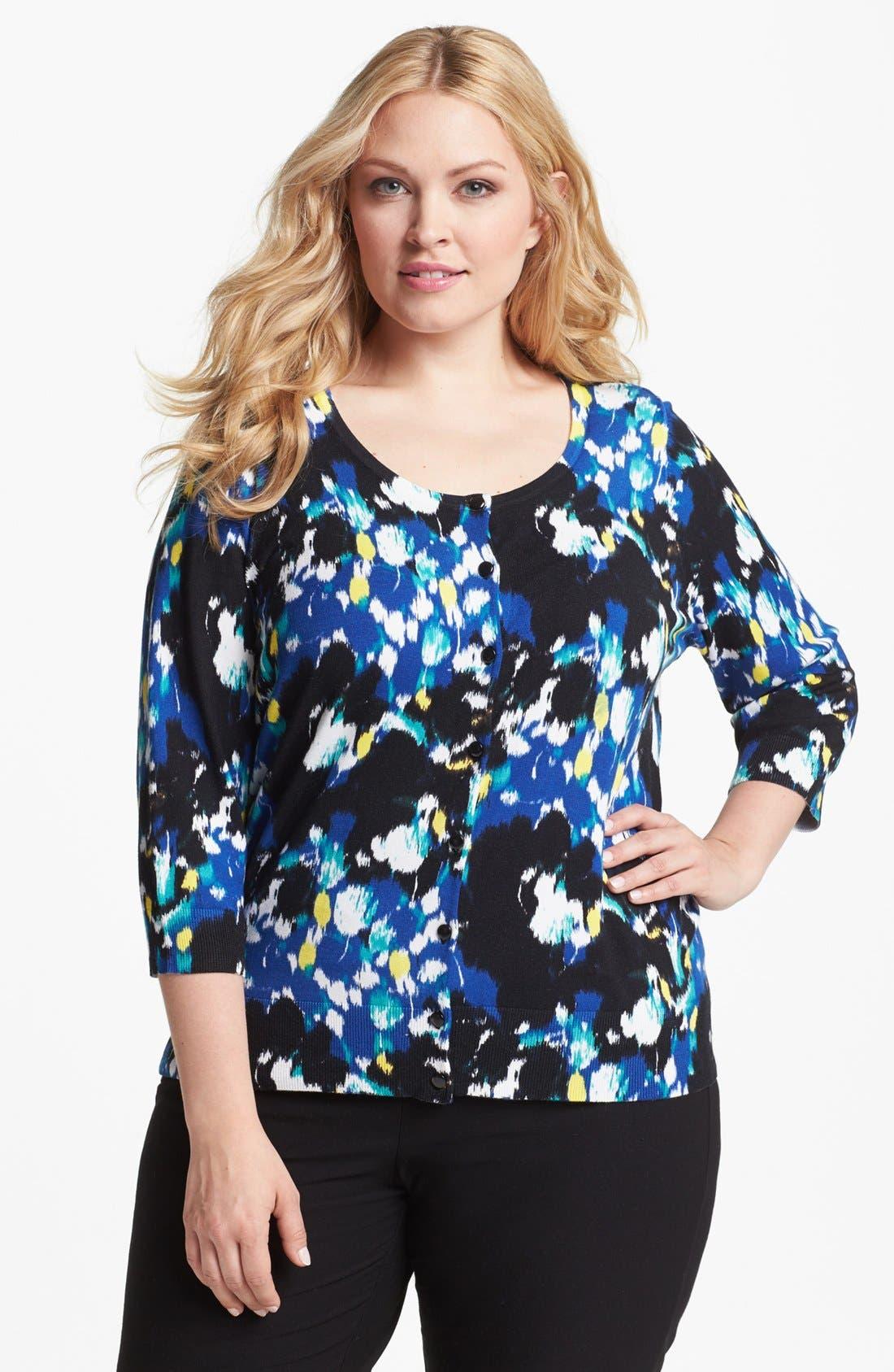 Main Image - Sejour 'Spring' Pattern Cardigan (Plus Size)