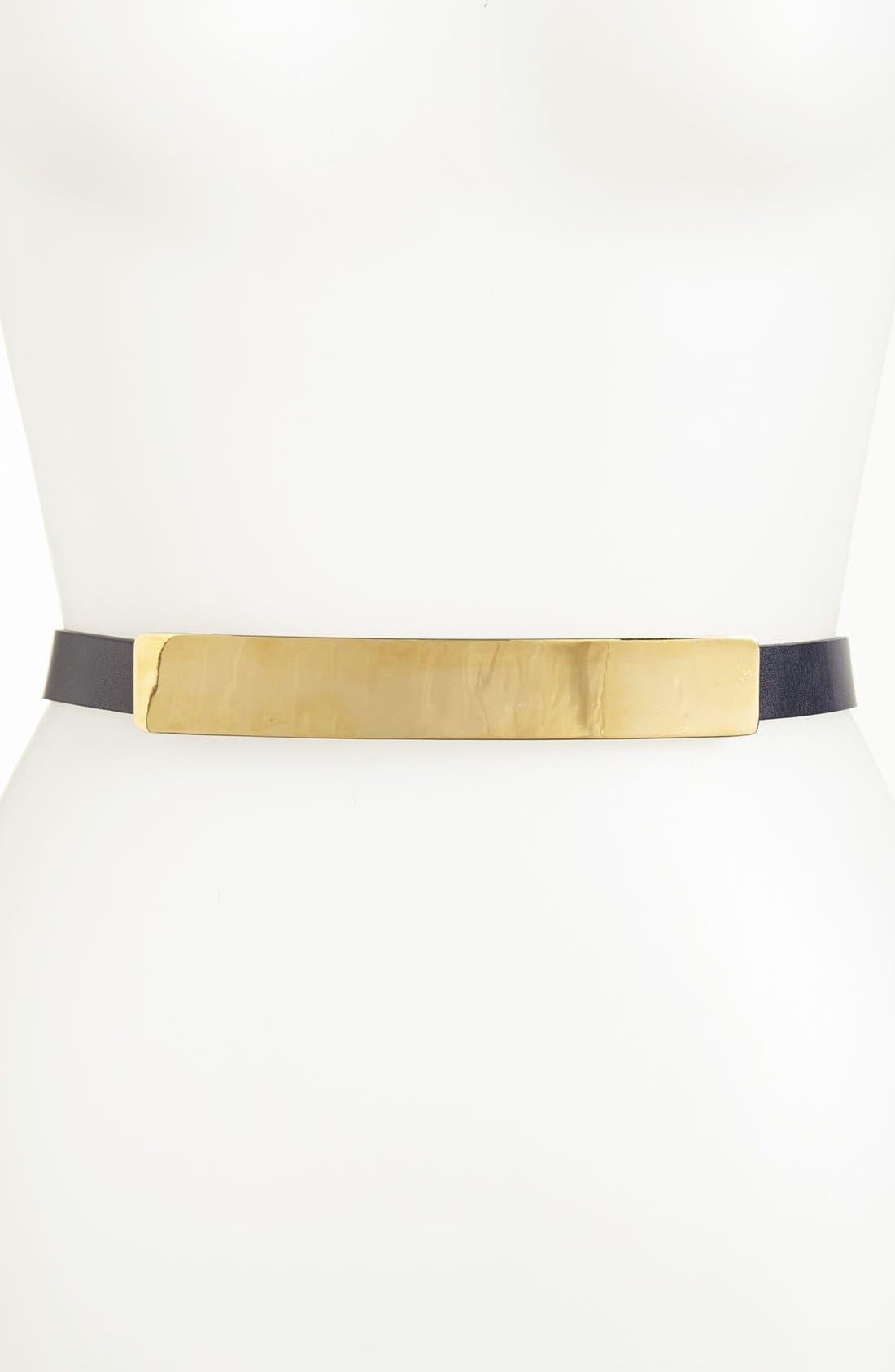 Main Image - St. John Collection Light Gold Buckle Leather Belt